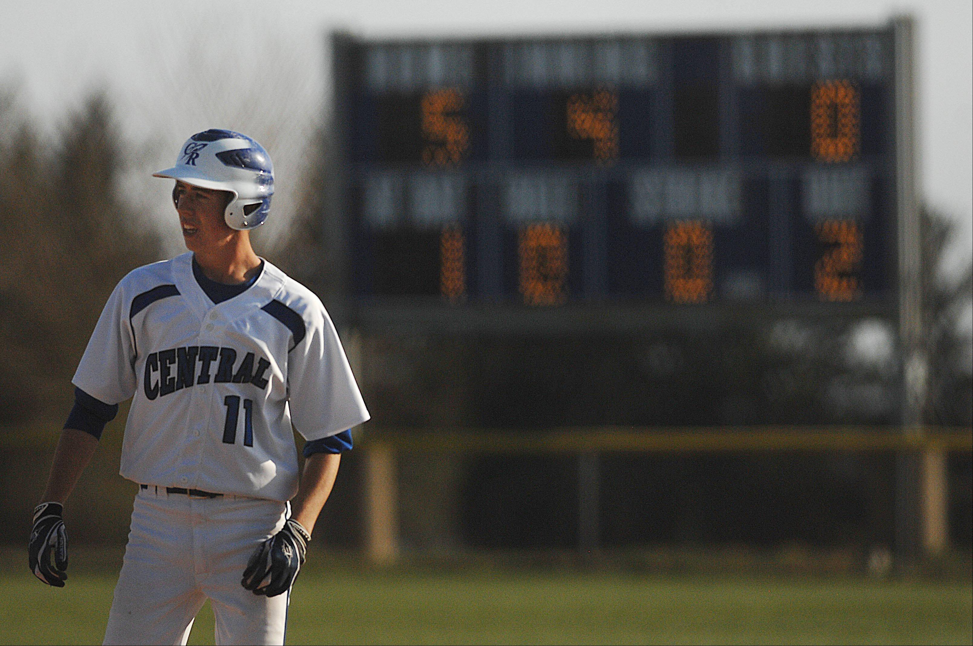 Burlington Central's Riley Jensen stands on first base after getting a base hit with two outs in the fourth inning against Marengo Thursday in Burlington. He was the winning pitcher.