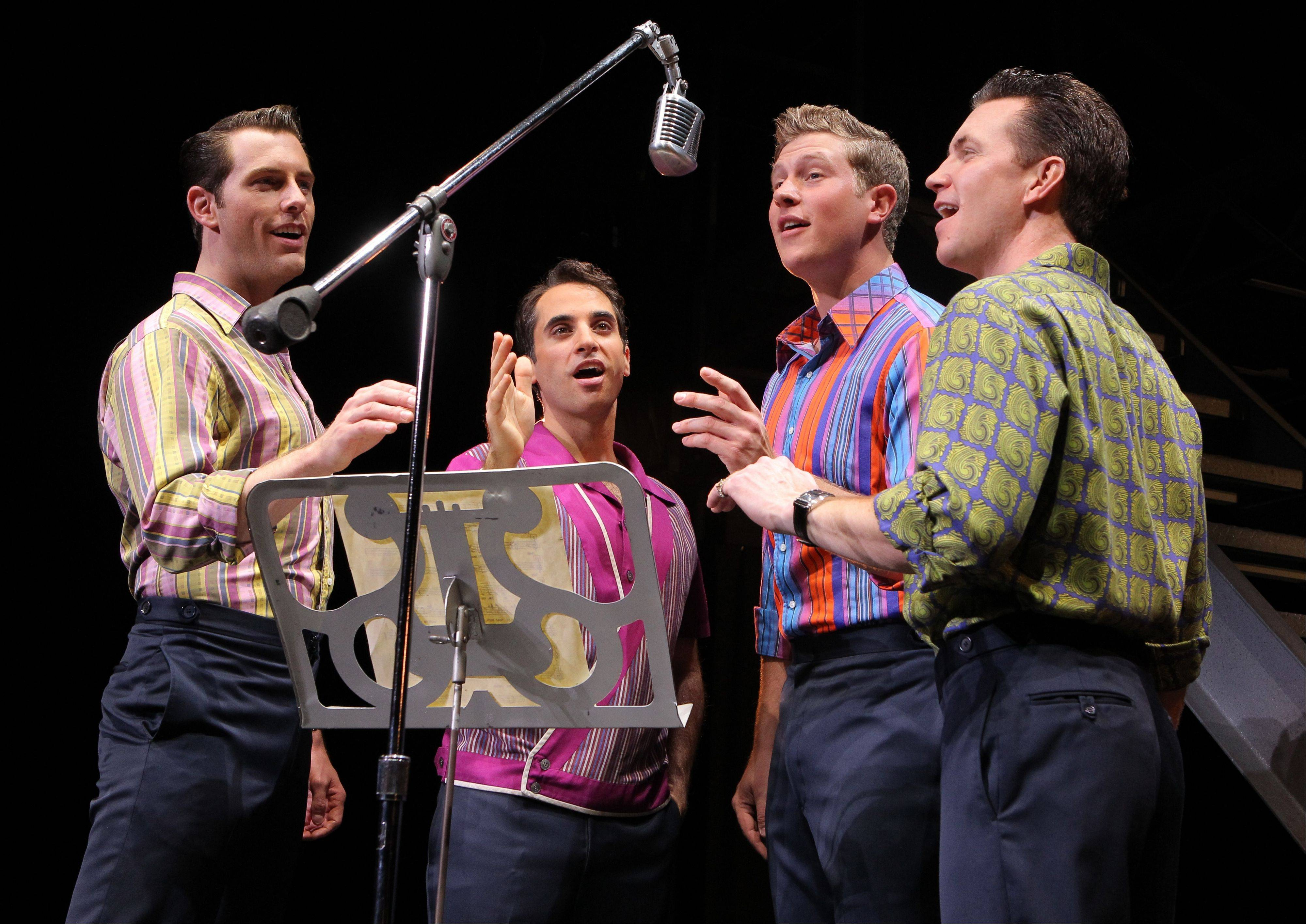 Nick Massi (Michael Lomenda), Frankie Valli (Joseph Leo Bwarie), Bob Gaudio (Preston Truman Boyd) and Tommy DeVito (John Gardiner) rise to fame as the Four Seasons in
