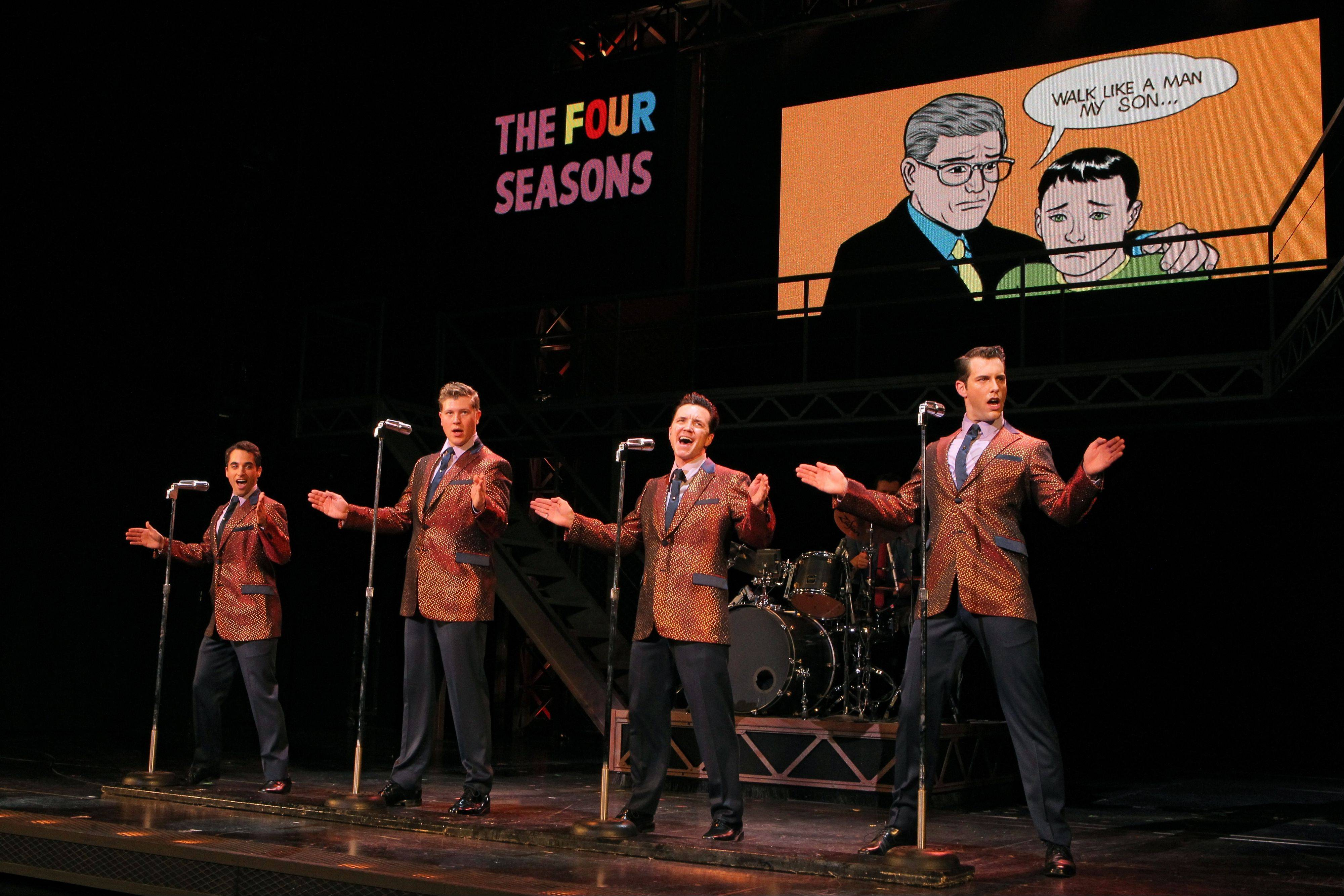 """Jersey Boys"" returns to Chicago for a run at the Bank of America Theatre. The Tony Award-winning musical charts the rise of Frankie Valli and the Four Seasons (Joseph Leo Bwarie, left, Preston Truman Boyd, John Gardiner and Michael Lomenda)."