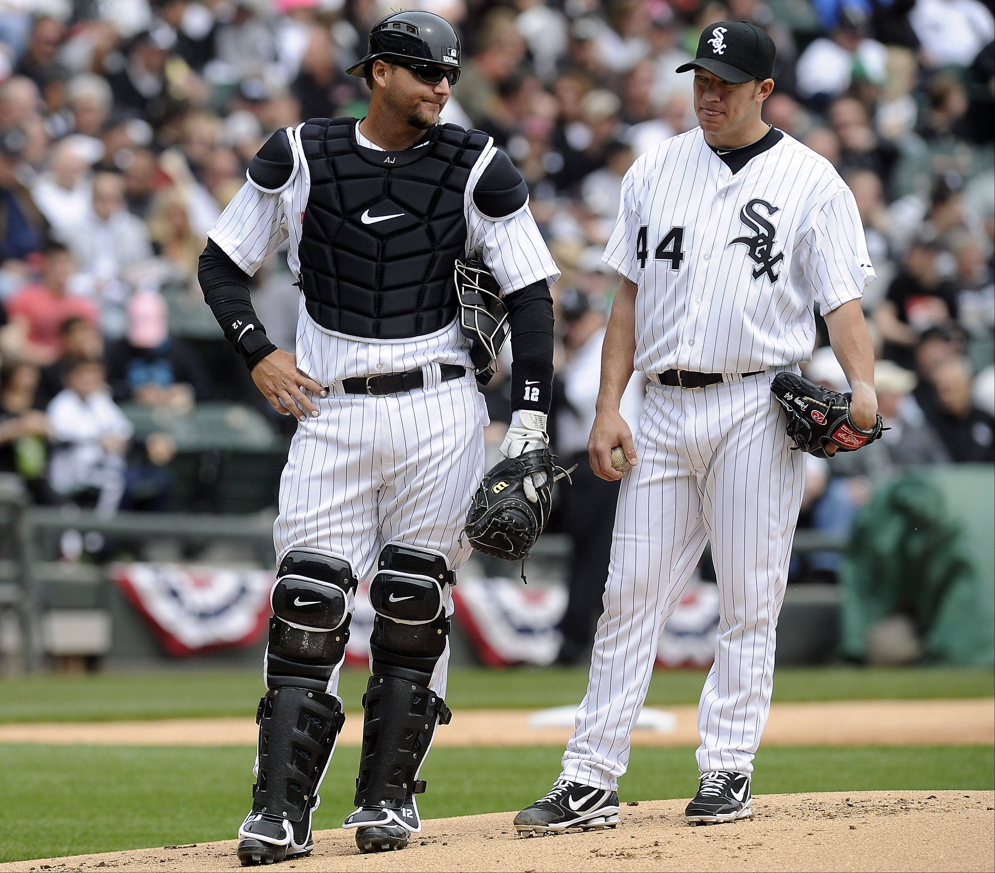 White Sox players A.J. Pierzynski and pitcher Jake Peavy.