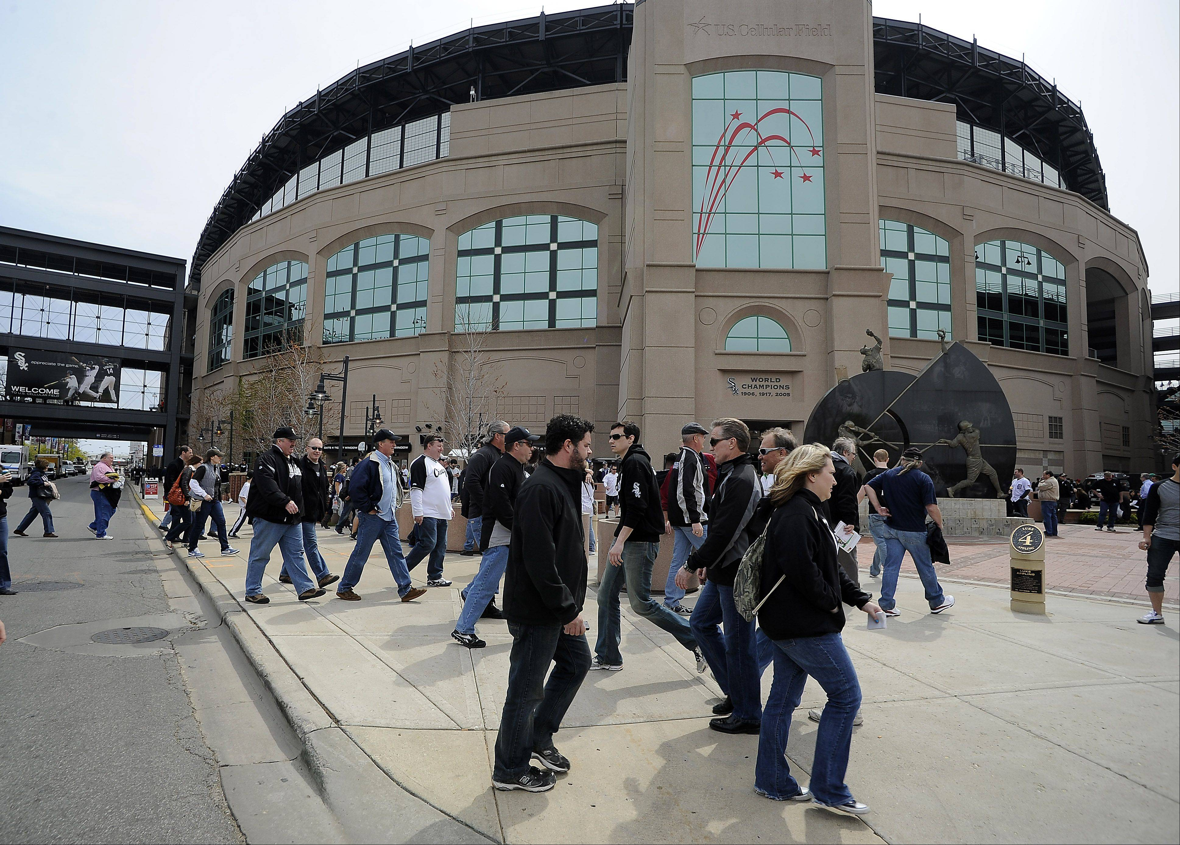 White Sox fans head to the ballpark on opening day.