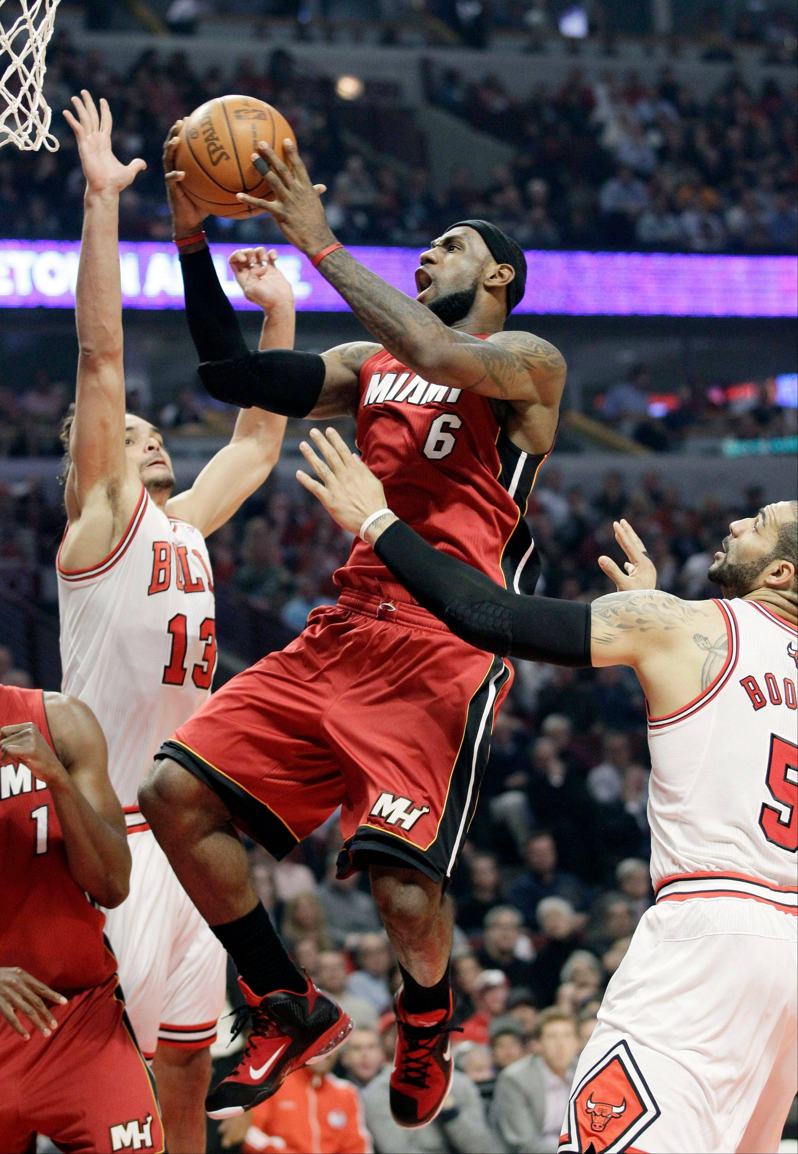 Miami forward LeBron James had a good game against the Bulls, as did Dwyane Wade and Chris Bosh, but they had nothing left for overtime. The Heat also got almost nothing from its bench. The Bulls bench outscored Miami's reserves 47-7.
