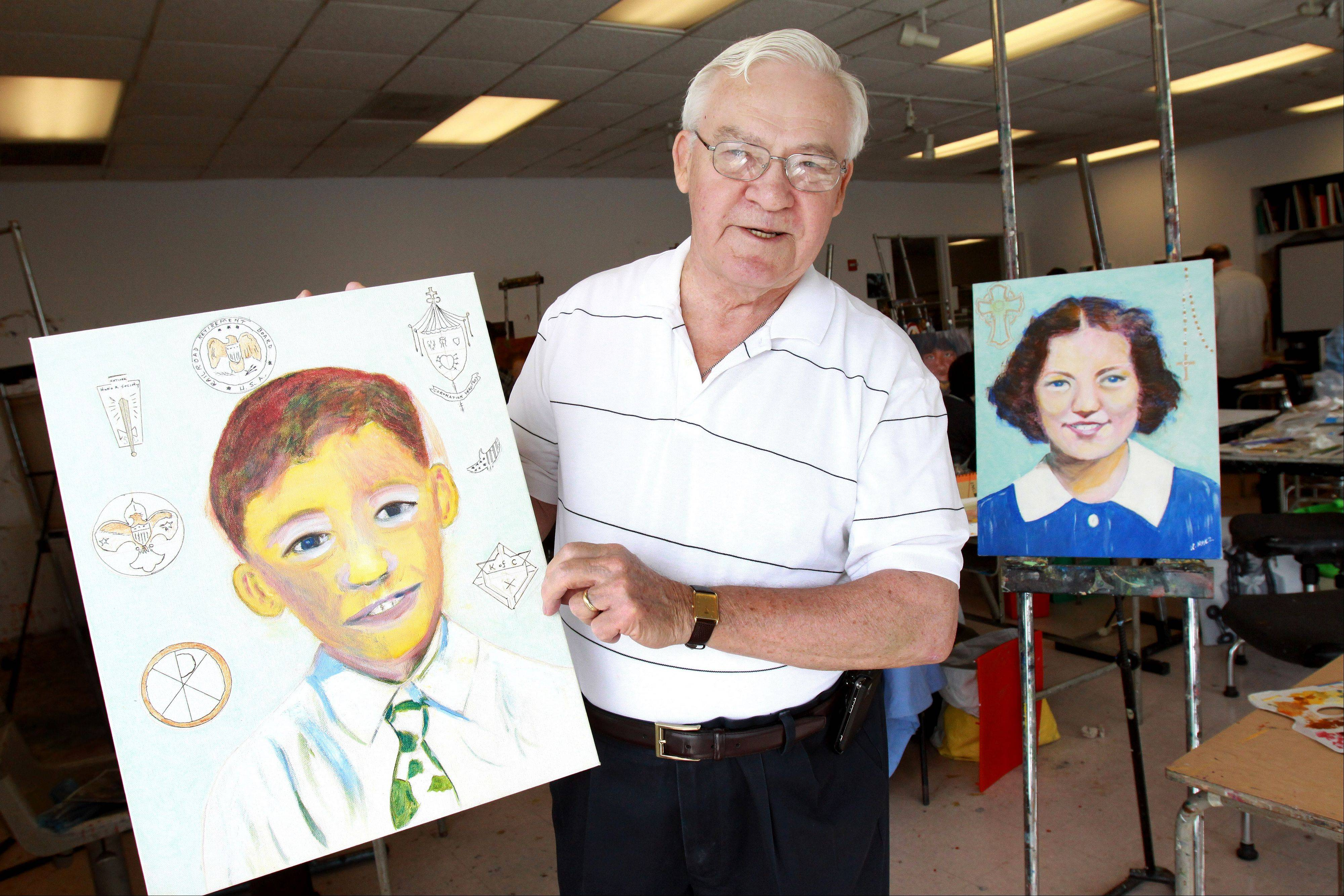 Ken Marz of Glen Ellyn, a graduate of Maternity B.V.M., shows a portrait he did of himself as a student and one of a friend of his wife who also went to the school.