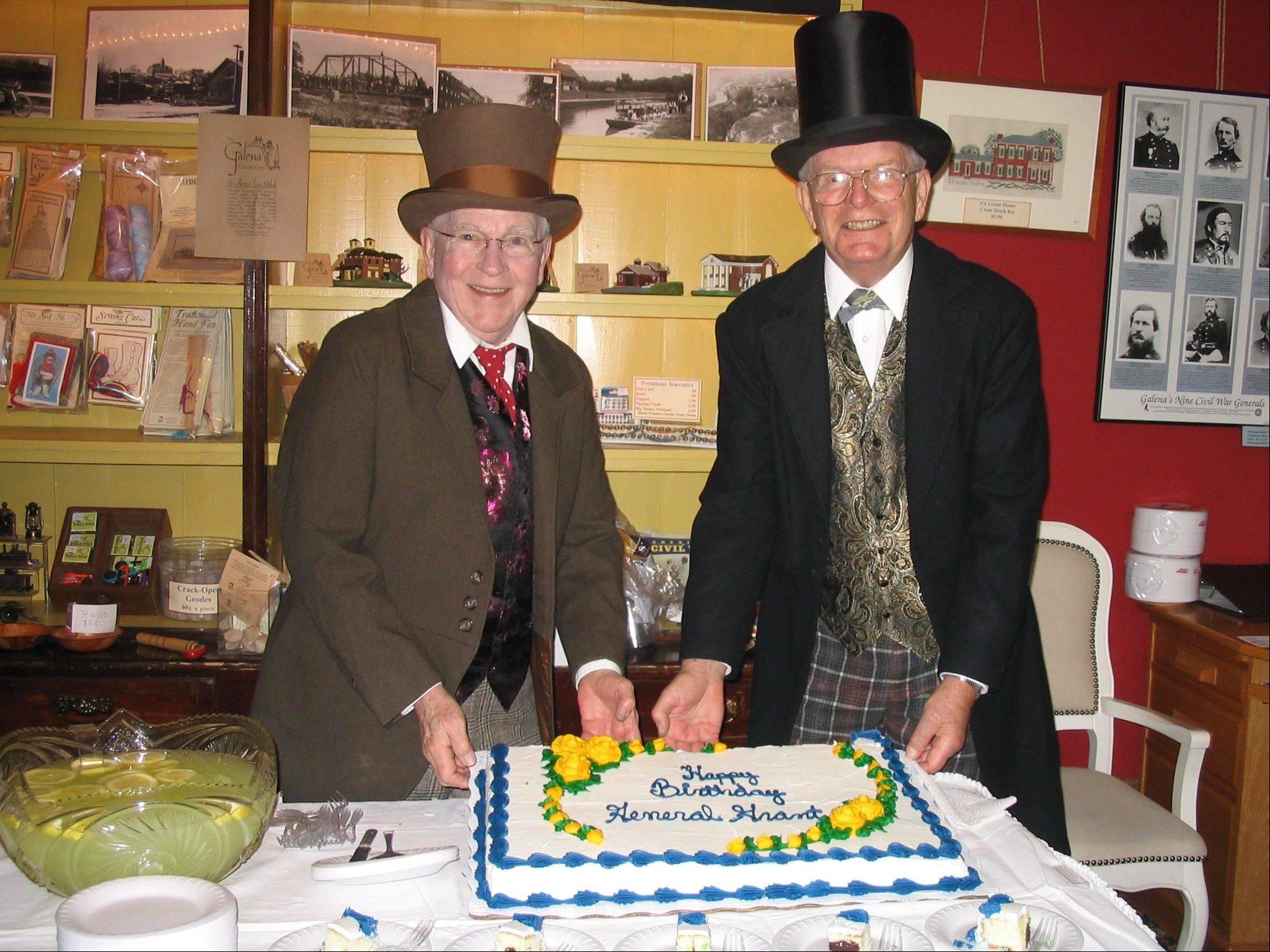 Bob Palmer and Jack Kirkby display General Grant's birthday cake at the Galena & U.S. Grant Museum during the Grant Birthday Weekend, which runs from Friday through Sunday, April 20-22.