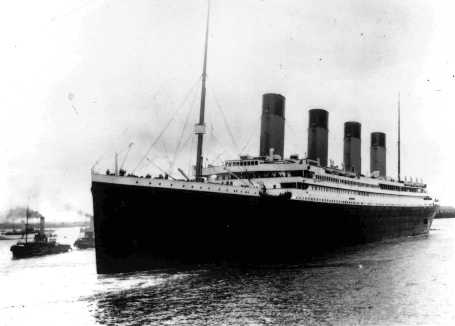 The Titanic is pictured on its maiden voyage across the Atlantic Ocean.