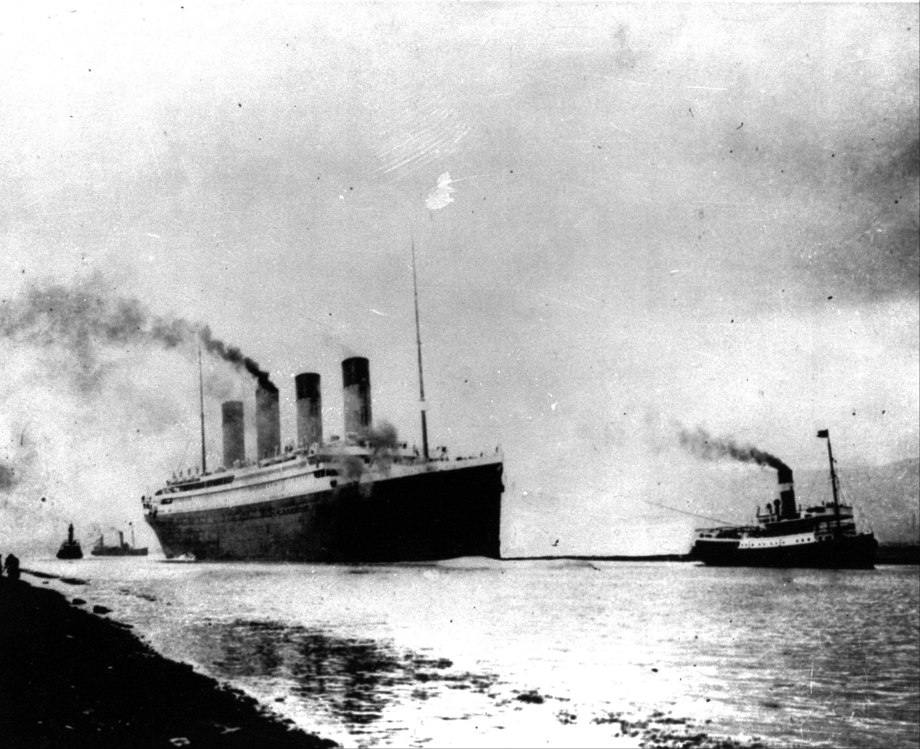 In this April 10, 1912, file photo, the luxury liner Titanic departs Southampton, England, on her maiden Atlantic voyage en route to New York City. Five days into her journey, the ship struck an iceberg and sank, resulting in the deaths of more than 1,500 people.