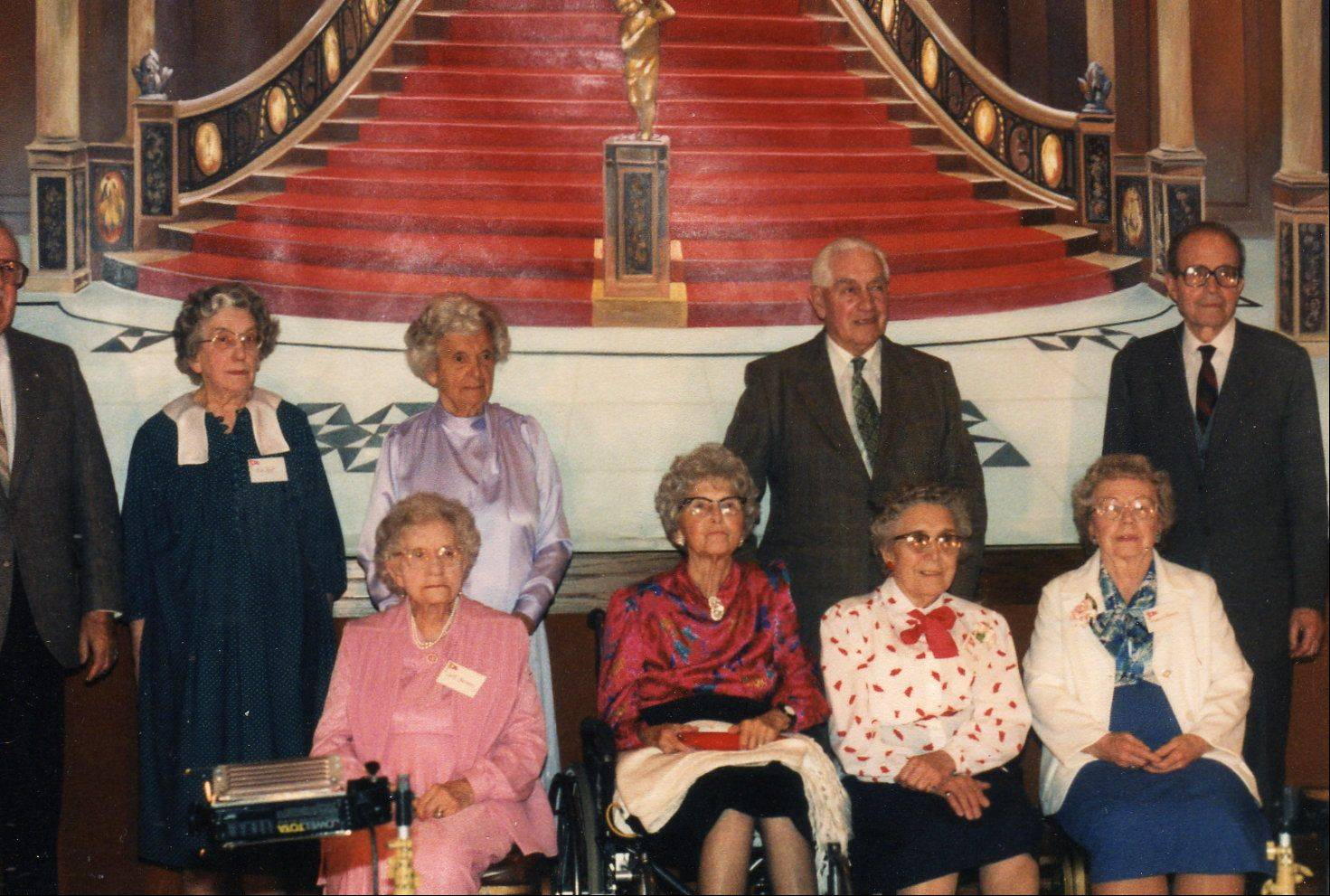 Titanic survivors attend a Titanic Historical Society Convention in Wilmington, Del., in the late 1980s. Eleanor Johnson Shuman is at bottom right.