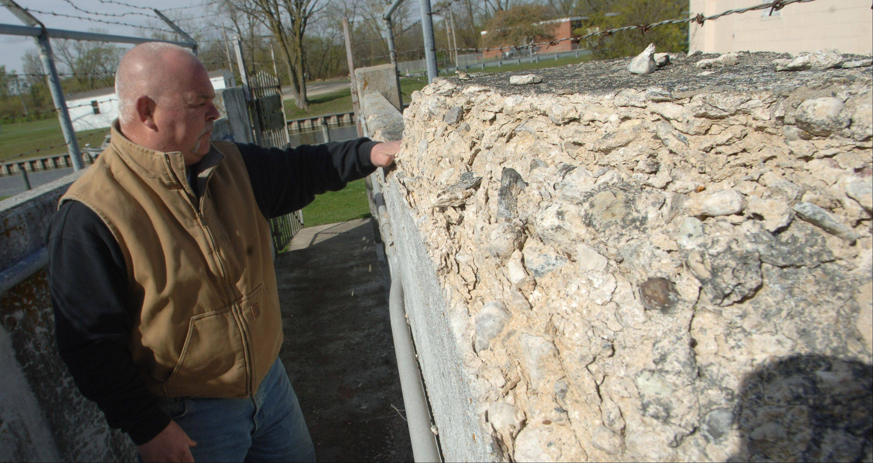 Crumbling concrete is one of the main issues at the William G. Stratton Lock and Dam near McHenry. The Illinois Department of Natural Resources is considering several options for improving the aging structure.