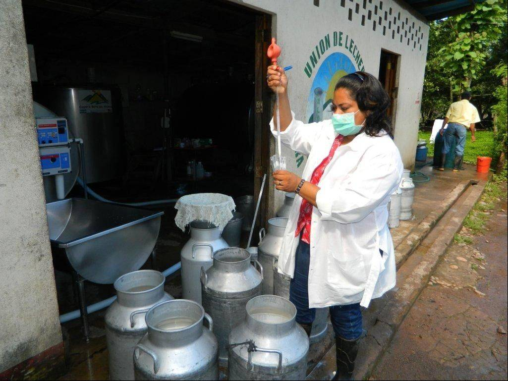 A technician is testing milk for quality at El Sauce collection center in Nicaragua. It's part of a project undertaken by Carpentersville-based Venture/Dairy, founded by Trevor Tomkins.