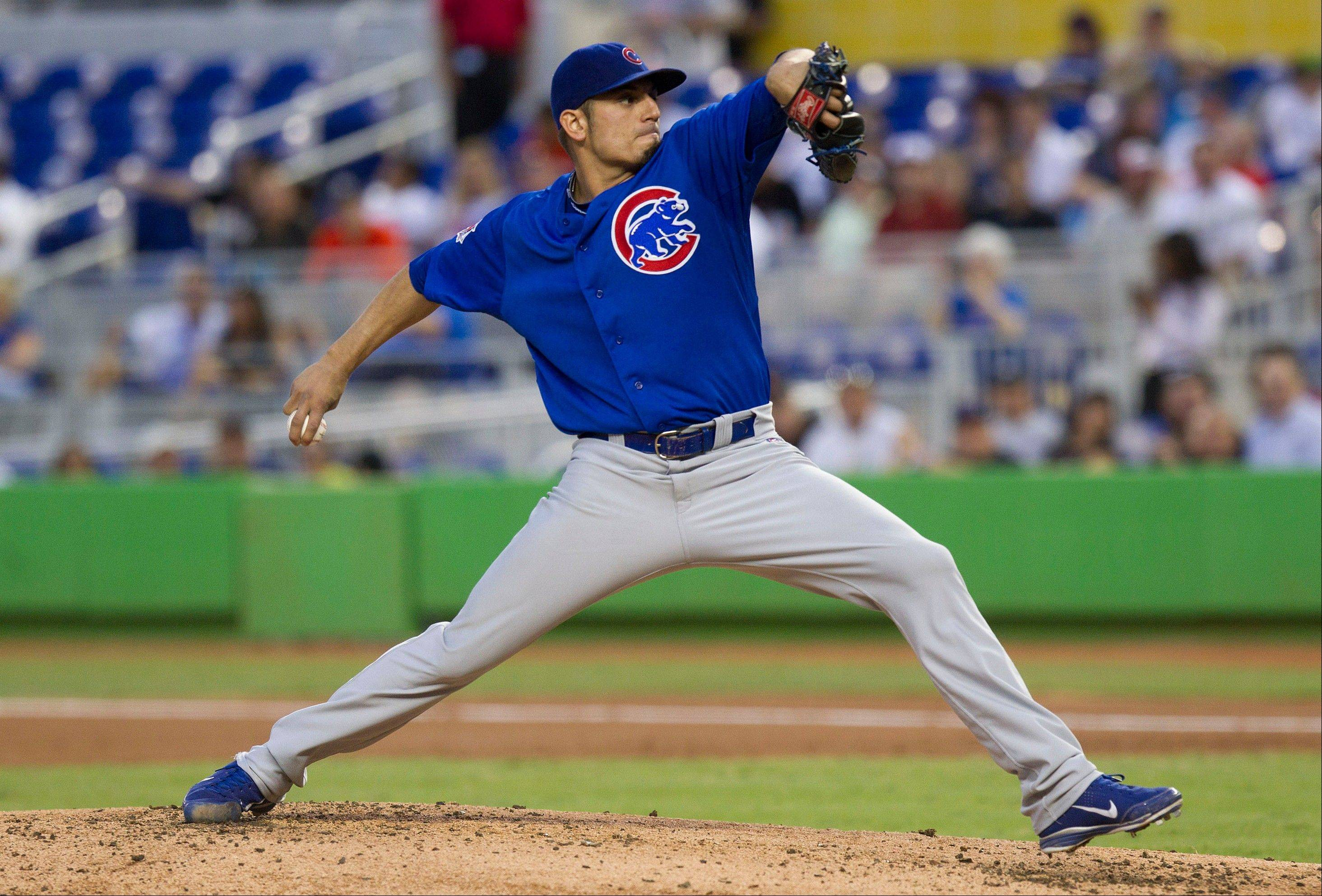 Cubs' Garza struggles, with no help from offense