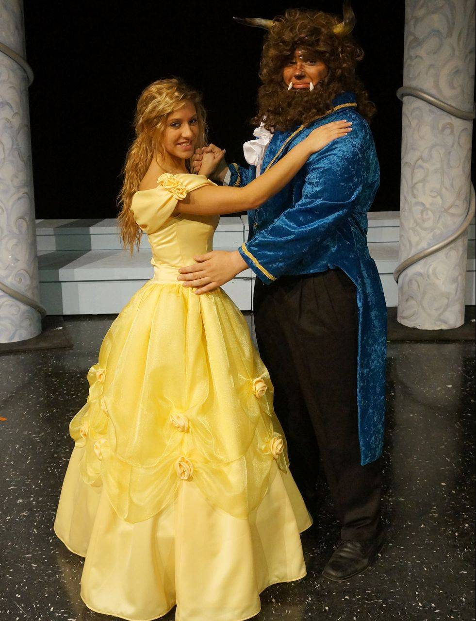 "Linnea Bettcher plays Belle and Joe Nocchi is the Beast in Dundee-Crown High School's spring musical, ""Beauty and the Beast."""