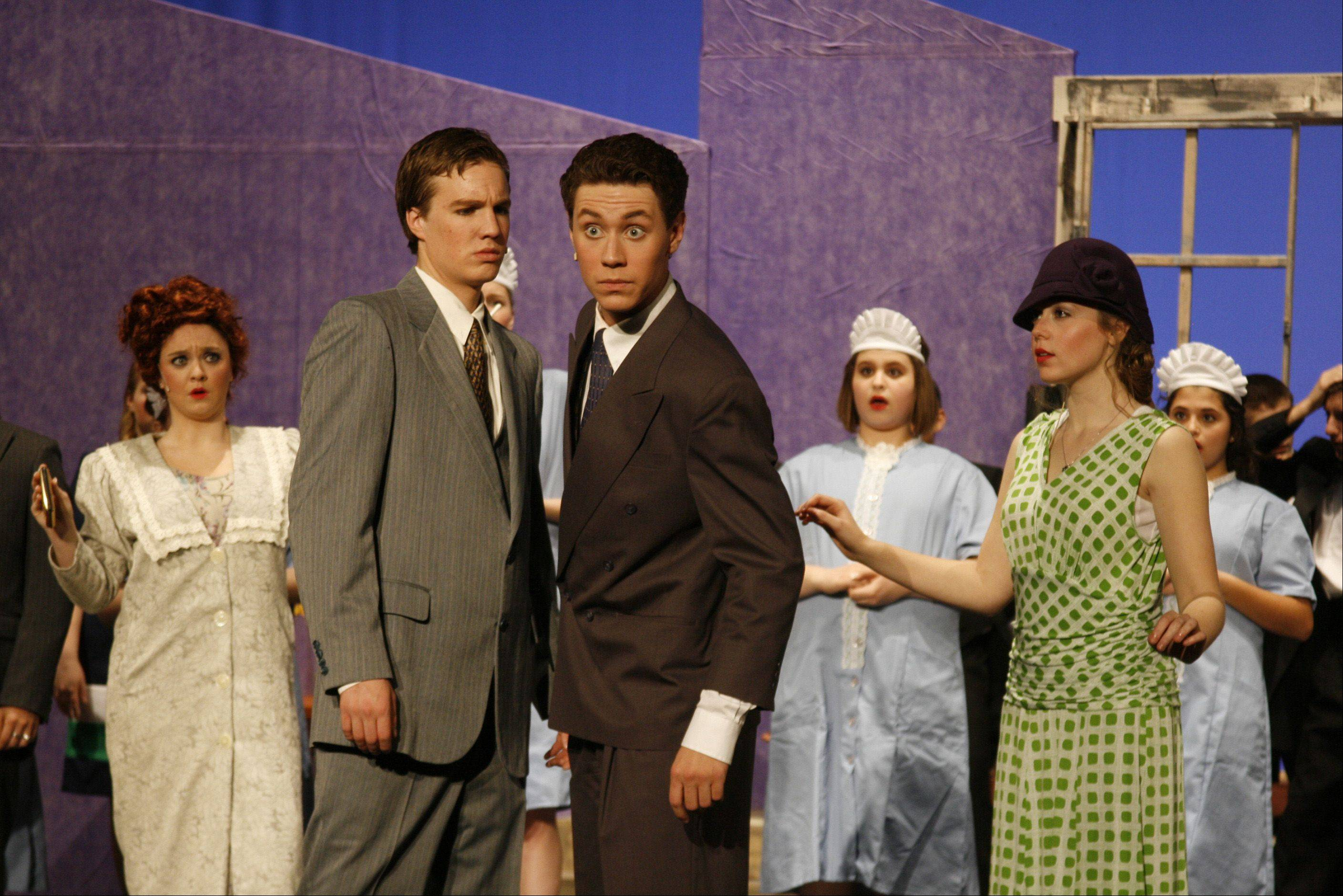 "Huntley High School students rehearse their production of ""The Drowsy Chaperone."""