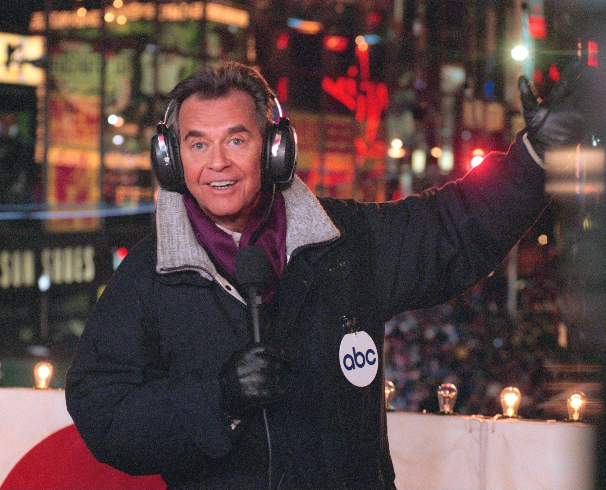 "In this undated file photo released by ABC, Dick Clark hosts the New Year's eve special from New York's Times Square. Clark, the television host who helped bring rock `n' roll into the mainstream on ""American Bandstand,"" has died. He was 82."