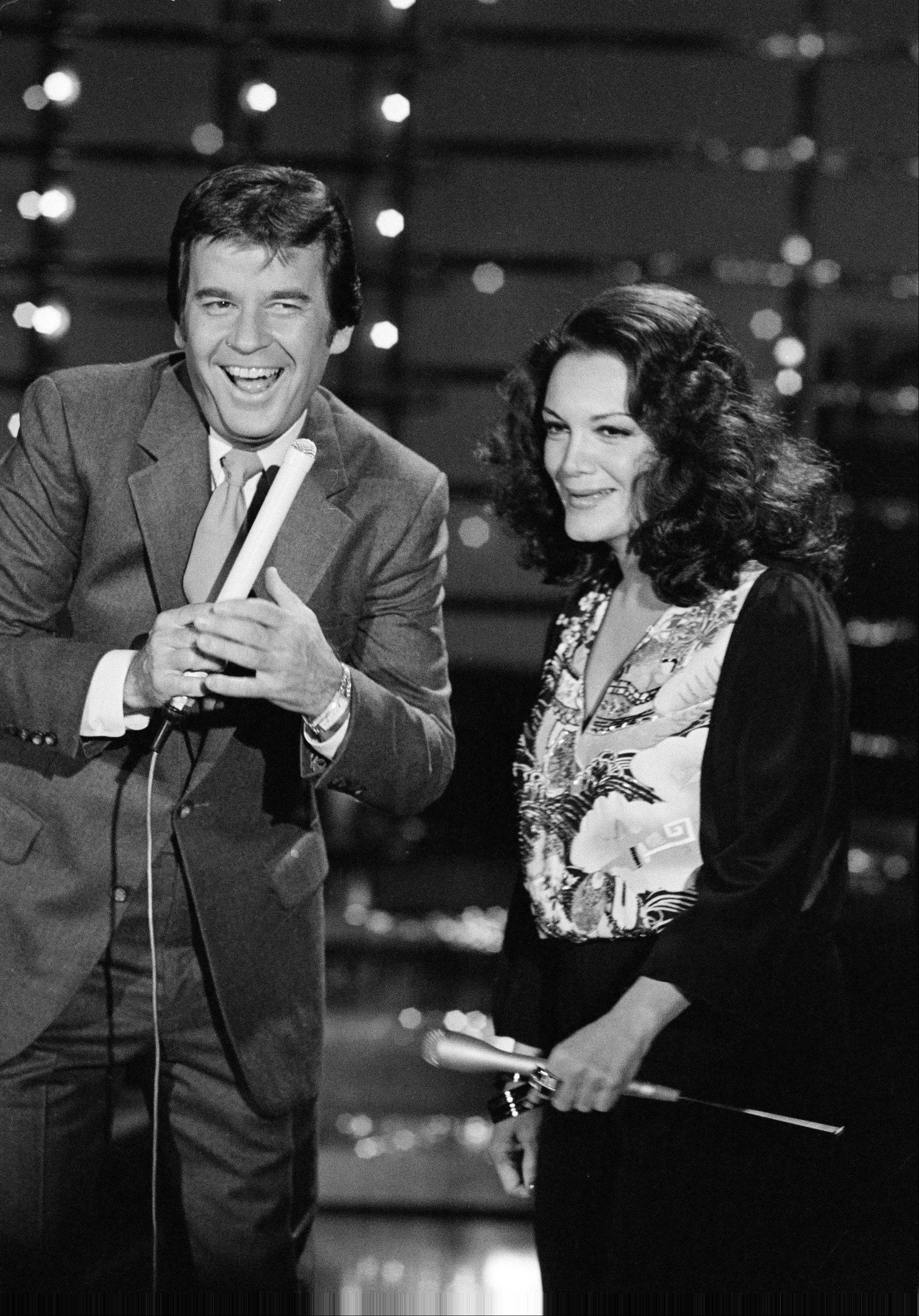 Host of American Bandstand Dick Clark, left, and his guest Connie Francis are shown during taping of the show in Los Angeles, Calif., Sunday, Dec. 9, 1980.