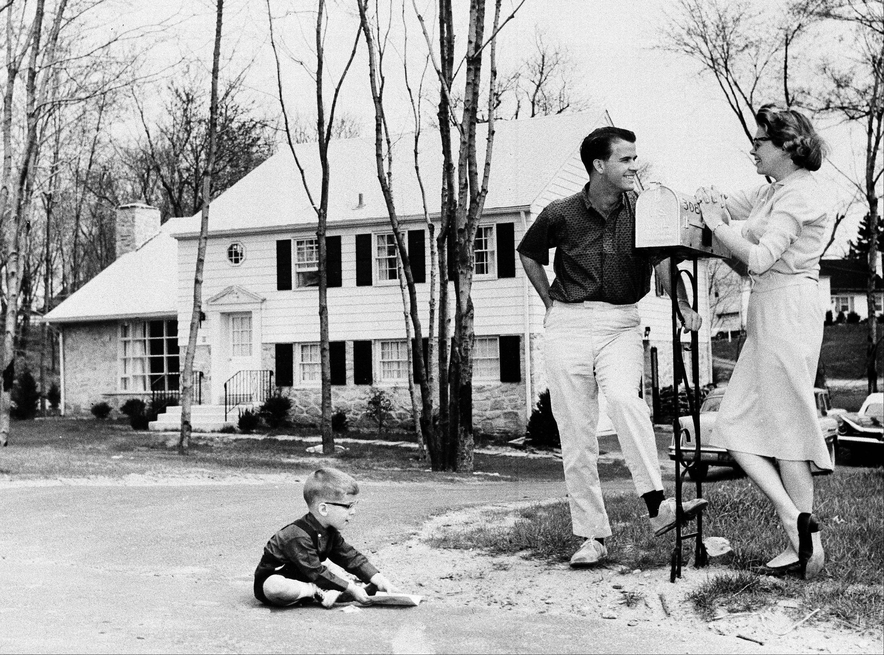 "Television star Dick Clark, his wife Barbara, and their son, Richard, 3 , outside their home outside Philadelphia, Pa., July 26, 1960. Dick hosts two ABC-TV shows, ""The Dick Clark Show"" on Saturdays and ""American Bandstand"" Monday through Friday. The Clark family threesome in front of the newly purchased home."