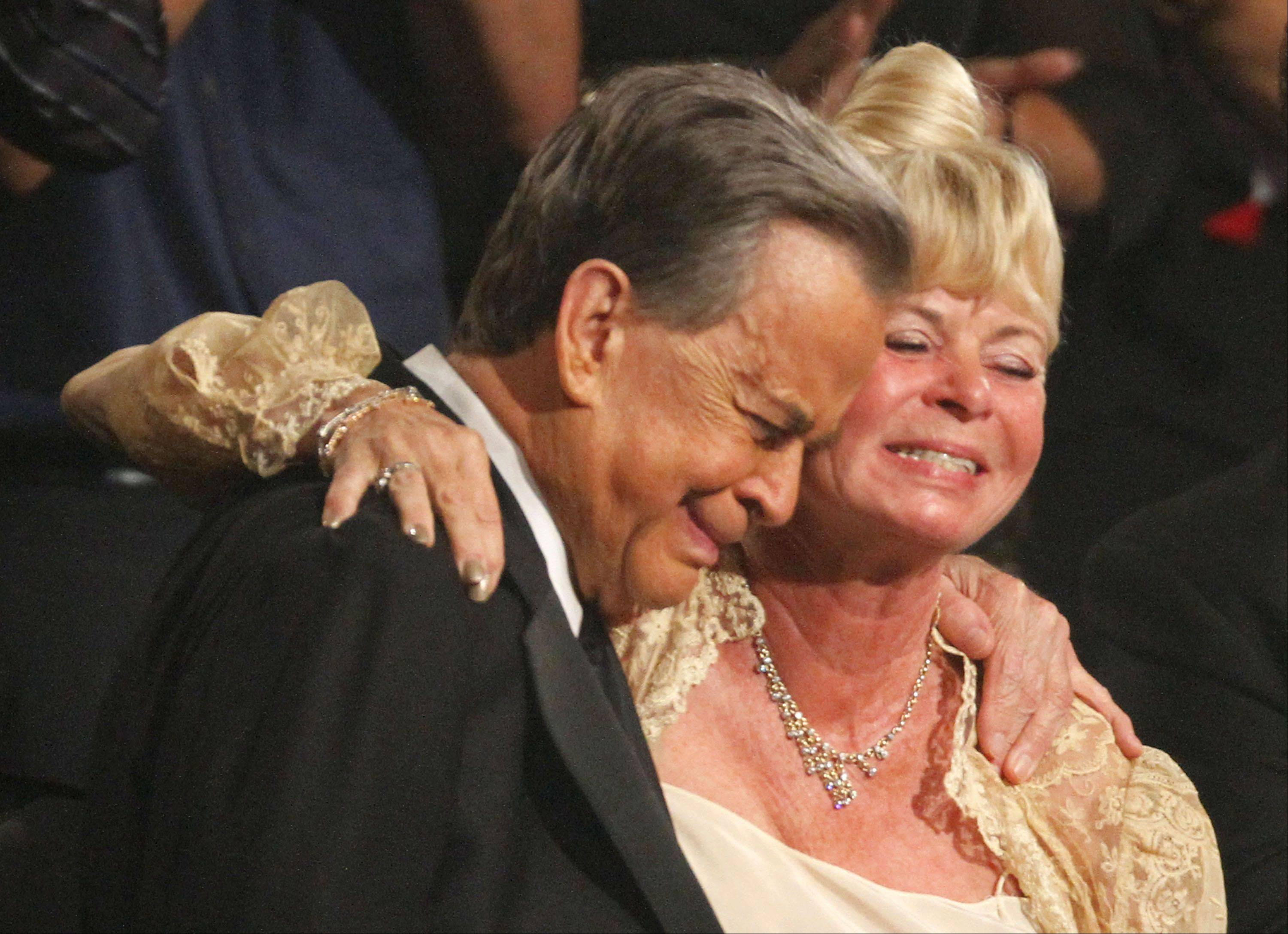 Dick Clark, left, is seen with Kari Clark after the American Bandstand Tribute at the 37th Annual Daytime Emmy Awards on Sunday, June 27, 2010, in Las Vegas.