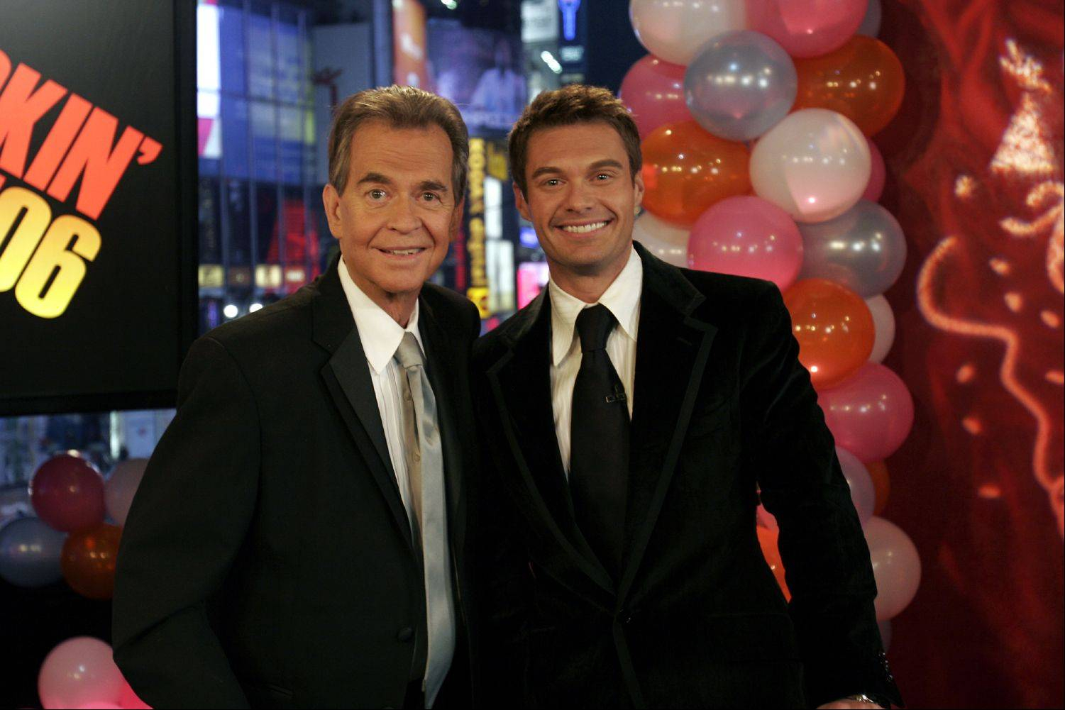 This photo provided by ABC Jan. 1, 2006 shows Dick Clark posing with Ryan Seacrest Saturday Dec. 31, 2006. Clark the personality who's been ringing in the New Year for decades making his first television appearance since a stroke in late 2004 Saturday Dec. 31, 2005 during ABC's broadcast of the festivities in New York's Times Square to ring in the New Year 2006.