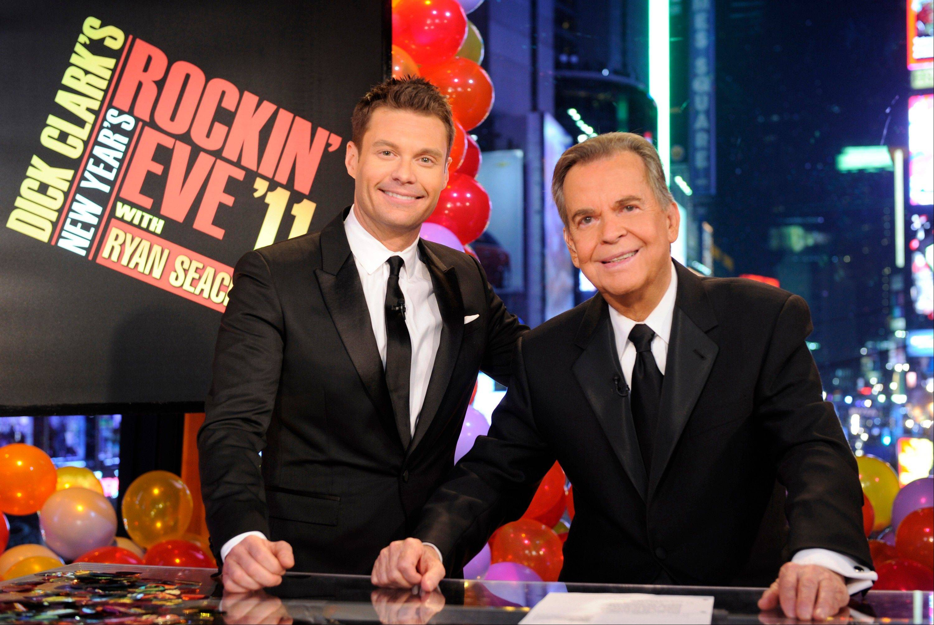 "In this image released by ABC, Dick Clark, right, and Ryan Seacrest are shown in New York. Clark and Seacrest will celebrate 40 years of history as they host ""Dick Clark's New Year's Rockin' Eve with Ryan Seacrest 2012"""