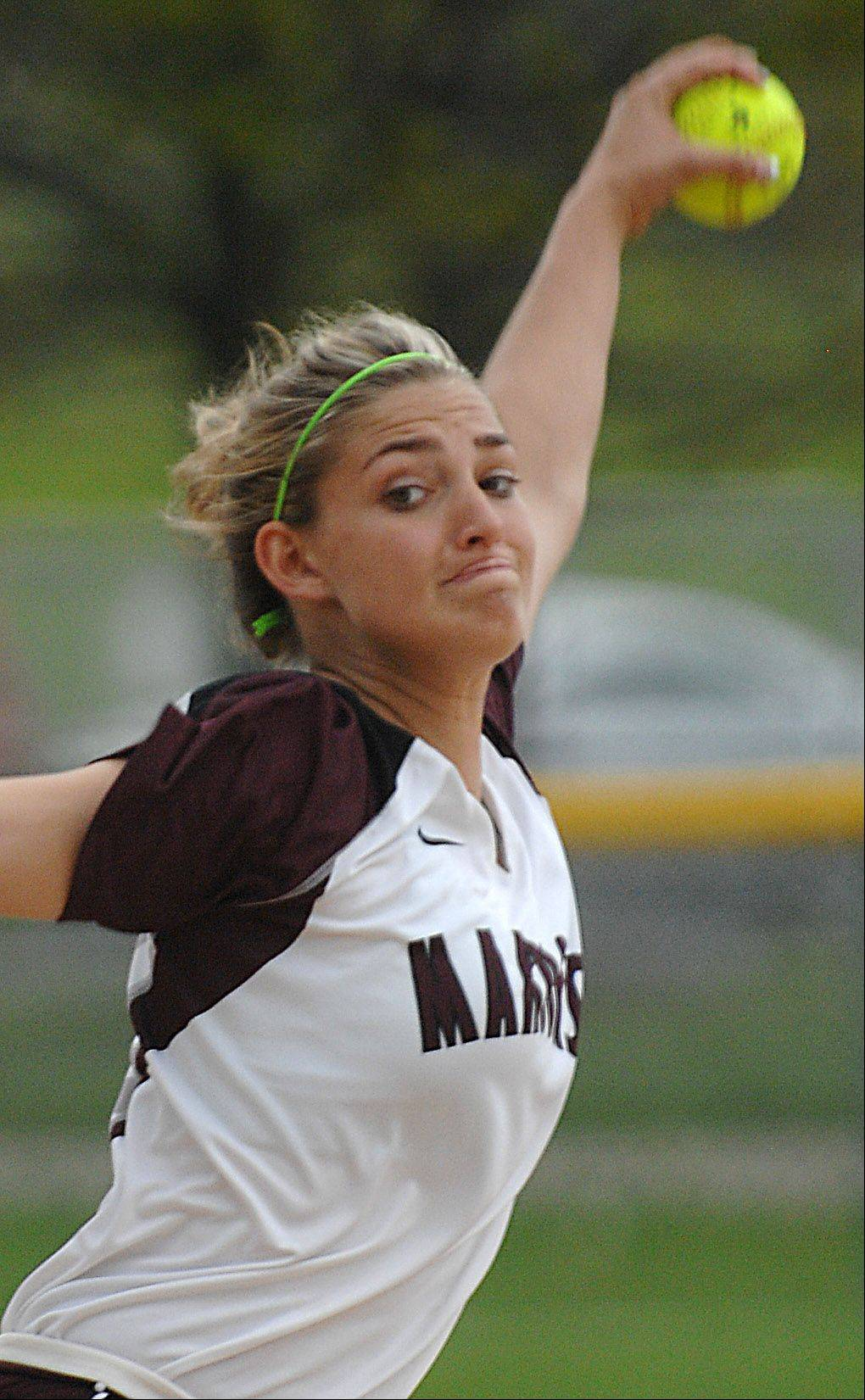 Elgin senior Hannah Perryman delivers against Batavia Wednesday in Elgin. She struck out 15 batters and threw a 1-hitter in the Maroons' 1-0 win.