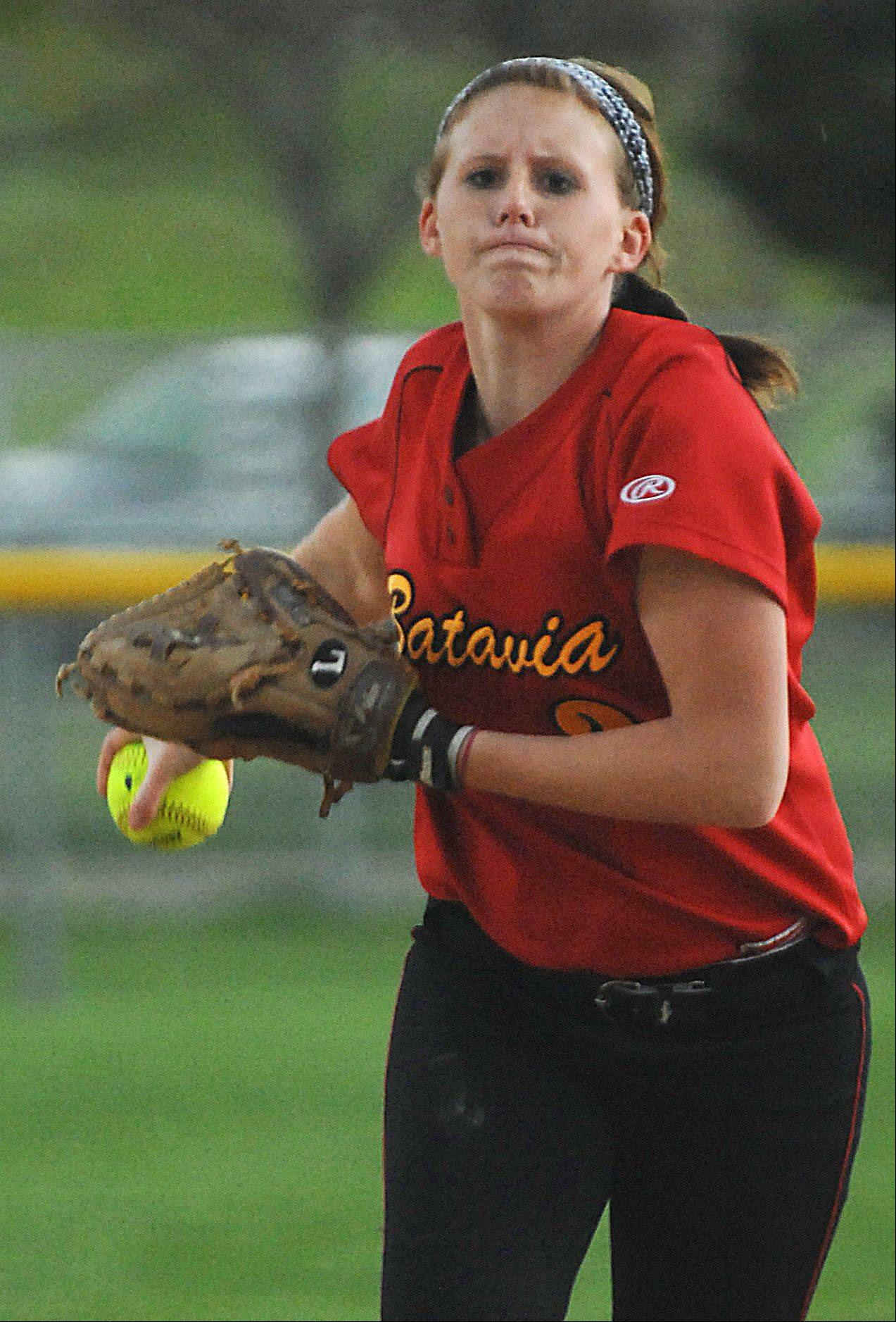 Batavia's Katie Coleman winds up against Elgin Wednesday in Elgin. She struck out 11 batters.