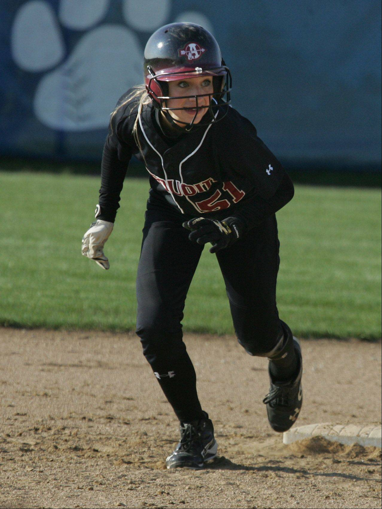 Antioch leadoff hitter Hannah Skoog takes off from second base to score her second run of the game Tuesday at Vernon Hills.