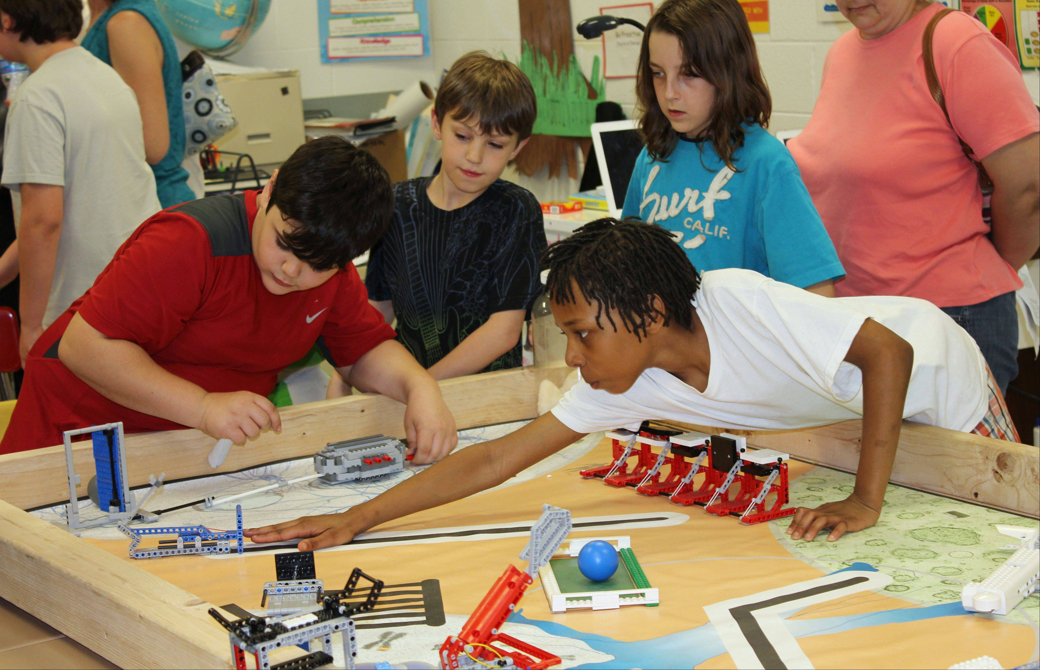 Students participate in a recent science program at Mechanics Grove School in Mundelein.