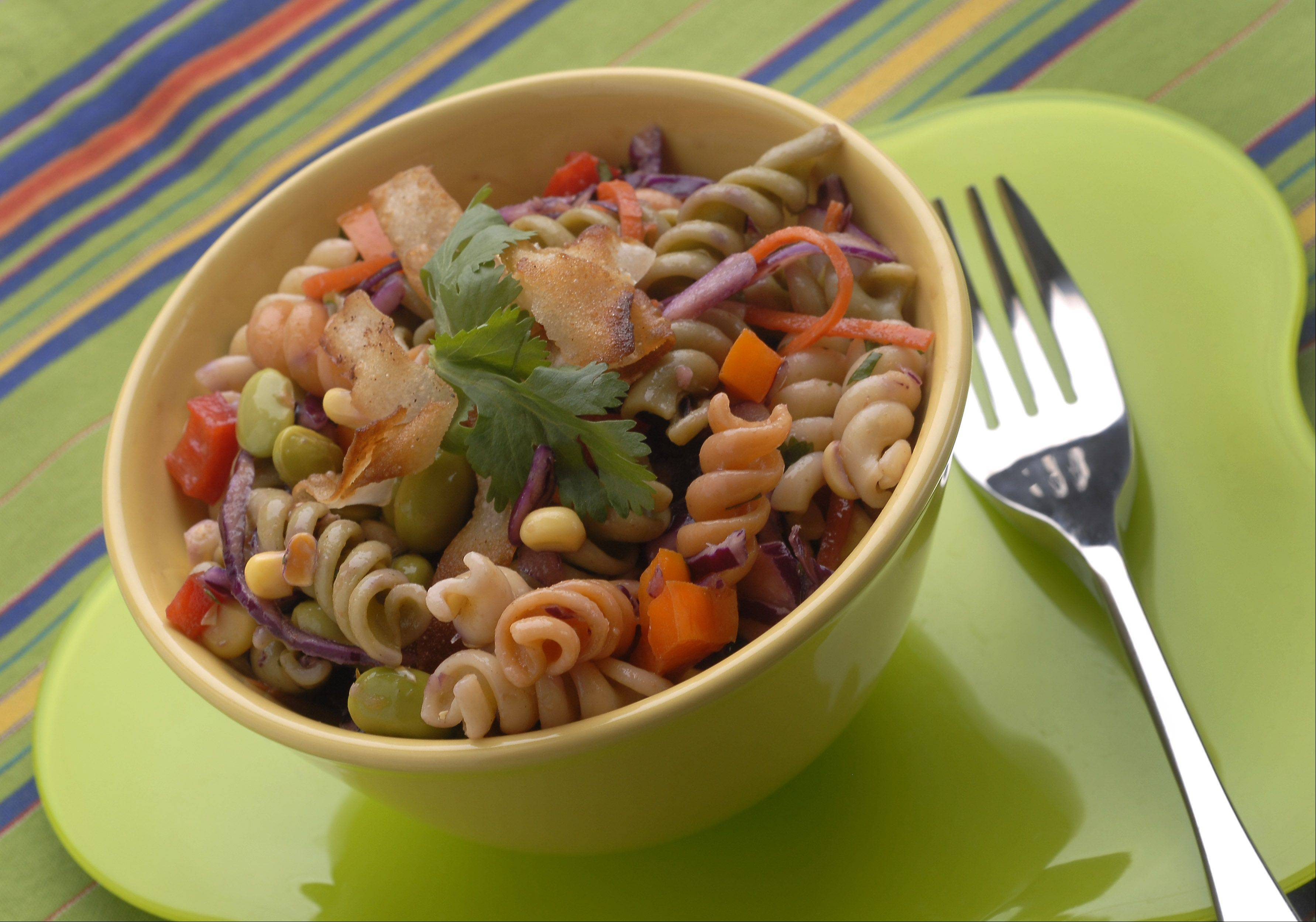 A colorful array of vegetables brings a number of nutrients to Rainbow D's 20% Cooler Pasta Salad.