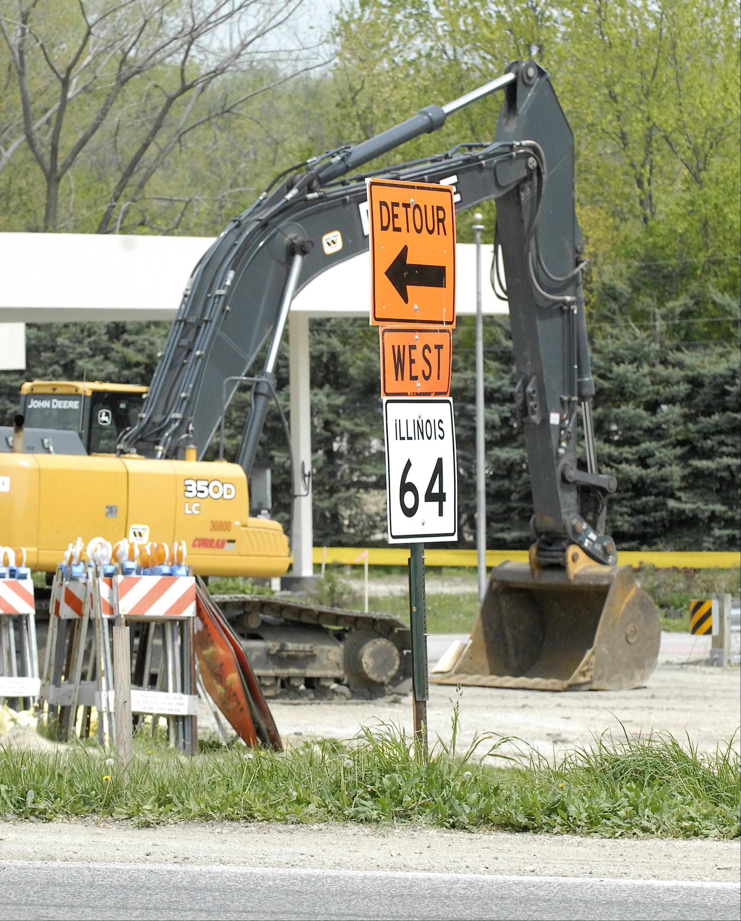 Roadwork will begin next week at Routes 47 and 64 in Lily Lake. Eastbound Route 64 is now blocked, westbound Route 64 is open, as is Route 47 in both directions. The state is installing a traffic signal, turn lanes, new culverts and a retaining wall. The project is expected to last until November, according to the Illinois Department of Transportation.