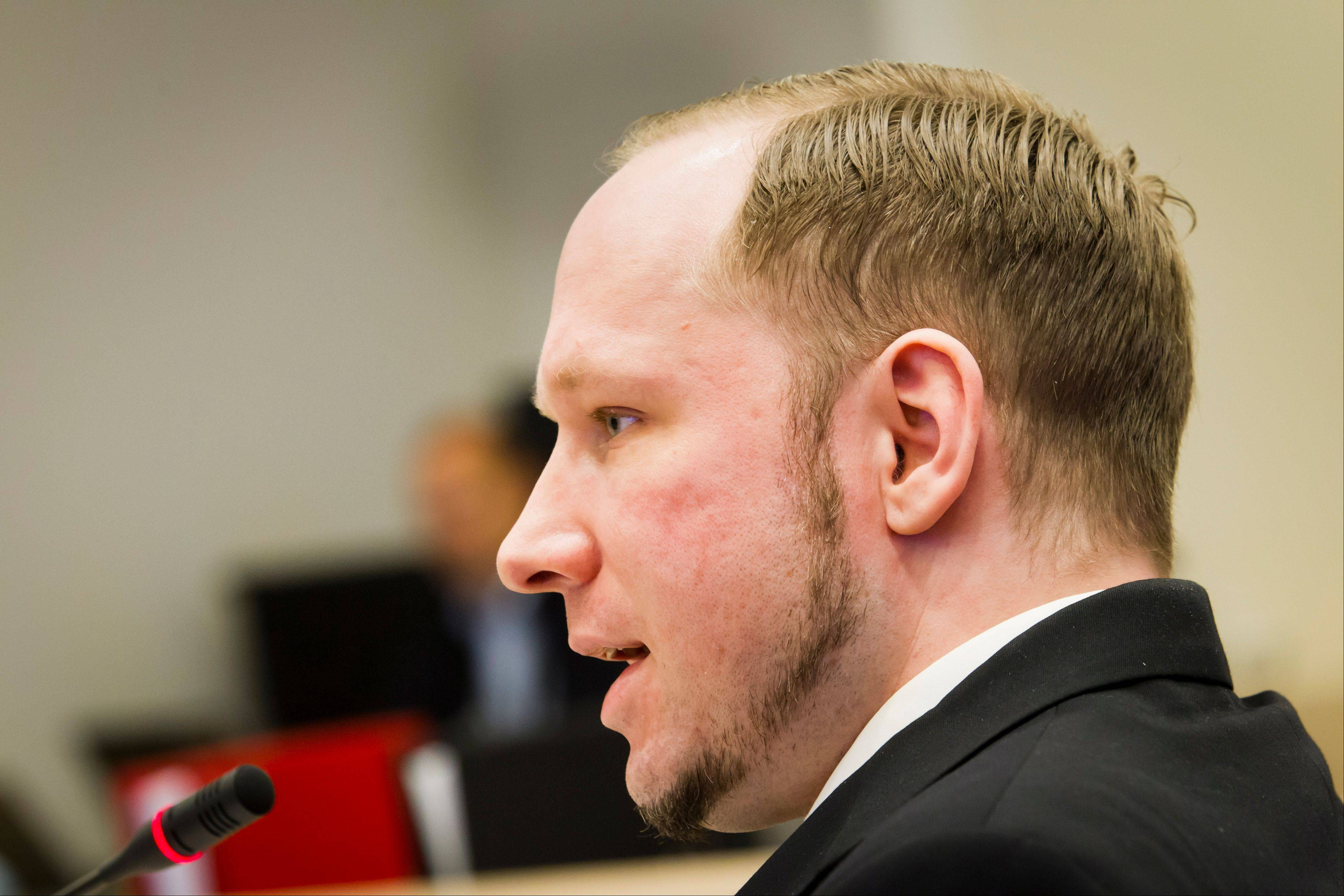 Defendant Anders Behring Breivik seen during the fourth day of proceedings in courtroom in Oslo Thursday April 19, 2012. Confessed mass killer Anders Behring Breivik thought he had only a slim chance of escaping Norway's capital alive after setting off a bomb in the government district on July 22, he told a court Thursday.