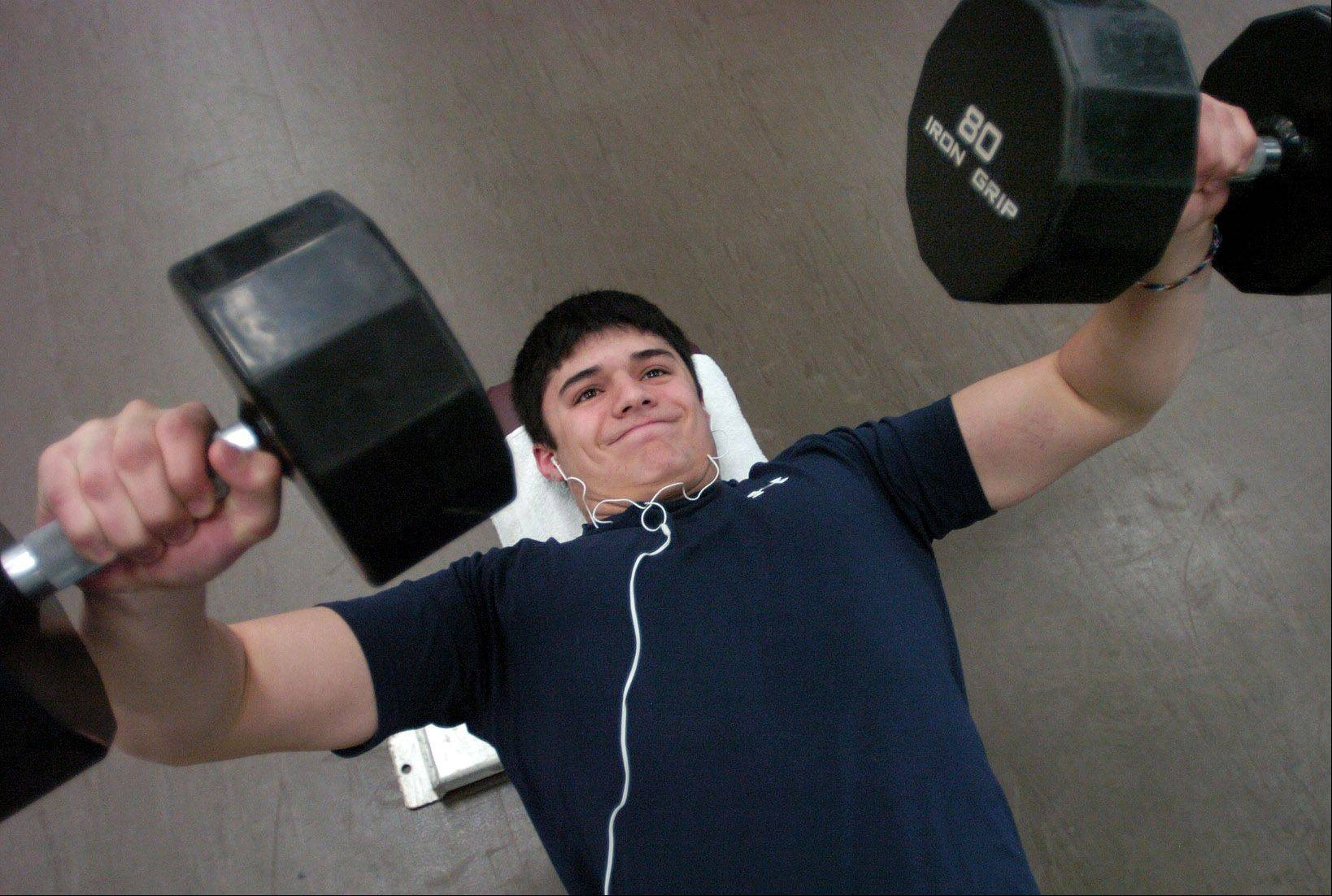 Conant junior Troy Piccinini, 16, continues to workout, despite having had three concussions, and fully intends to play football in the fall.