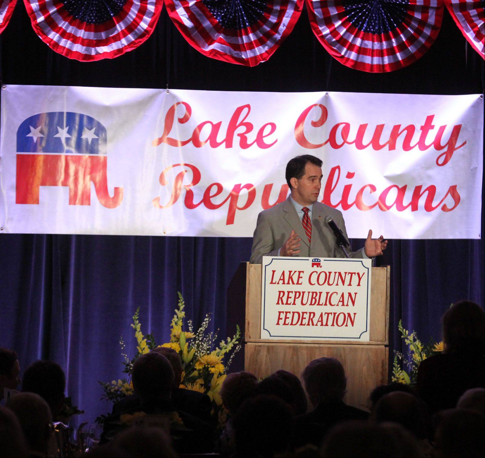 Wisconsin Gov. Scott Walker gives the keynote address at the Lake County Republican Federation's annual spring dinner at the Lincolnshire Marriott Resort on Friday.