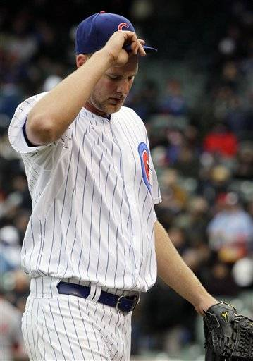 Cubs starter Chris Volstad (0-2) was roughed again and charged with six runs, five earned, over five innings. He gave up four in the first inning as Cincinnati batted around for the first time this season.