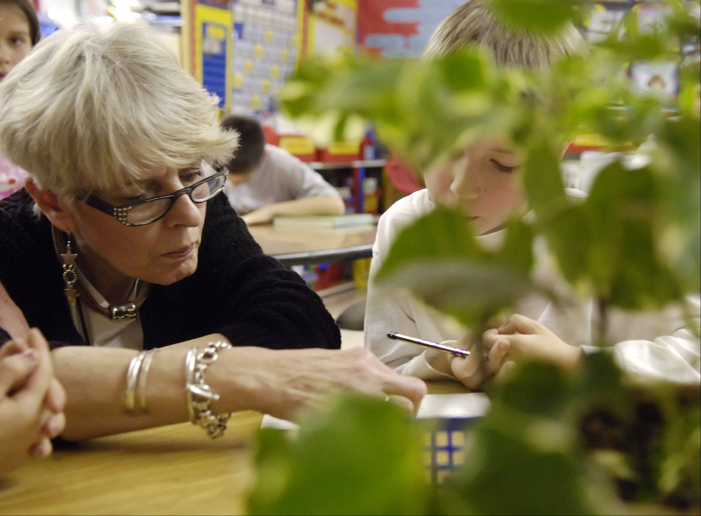 Mary Bencini, who died unexpectedly this month, is shown helping Kyle Bergman write a letter in her second-grade class at Western Avenue School in Geneva.