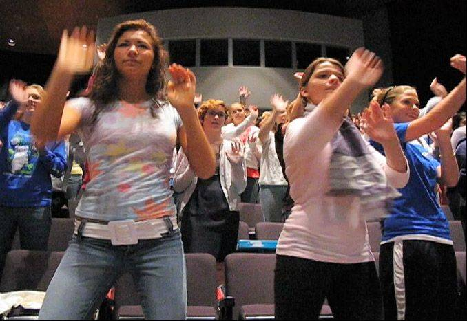 High school girls participating in the Girls Fight Back self-defense seminar after Rolling Meadows graduate Shannon McNamara was murdered in 2001.