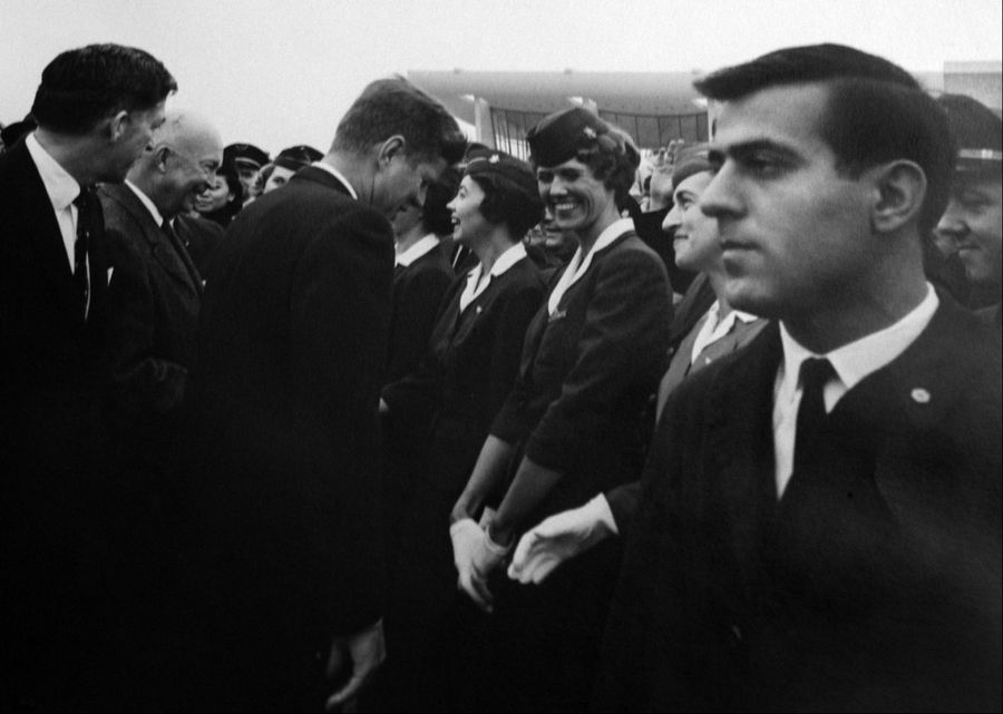 Ken Giannoules of Arlington Heights, right, working as a Secret Service agent 1962 at the dedication of Dulles International Airport with Presidents John F. Kennedy and Dwight D. Eisenhower.