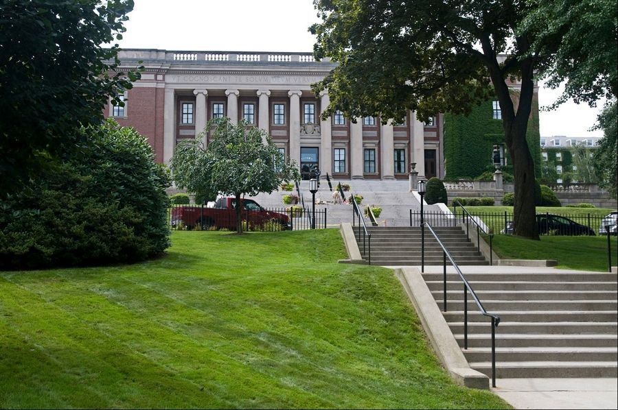 This Aug. 6, 2009, photo shows the Dinand Library on the campus of Holy Cross College in Worcester, Mass. Edwin Bleiler, who was expelled from Holy Cross in Massachusetts on the day he was supposed to graduate in spring 2011, for allegedly sexually assaulting another student. The accuser maintained she'd been intoxicated and unable to give consent to a sexual encounter. Bleiler contends she wasn't incapacitated and acted willingly. Now, Bleiler is suing Holy Cross, arguing the college's policies on consent and sexual misconduct discriminate against male students -- violating his Title IX rights.