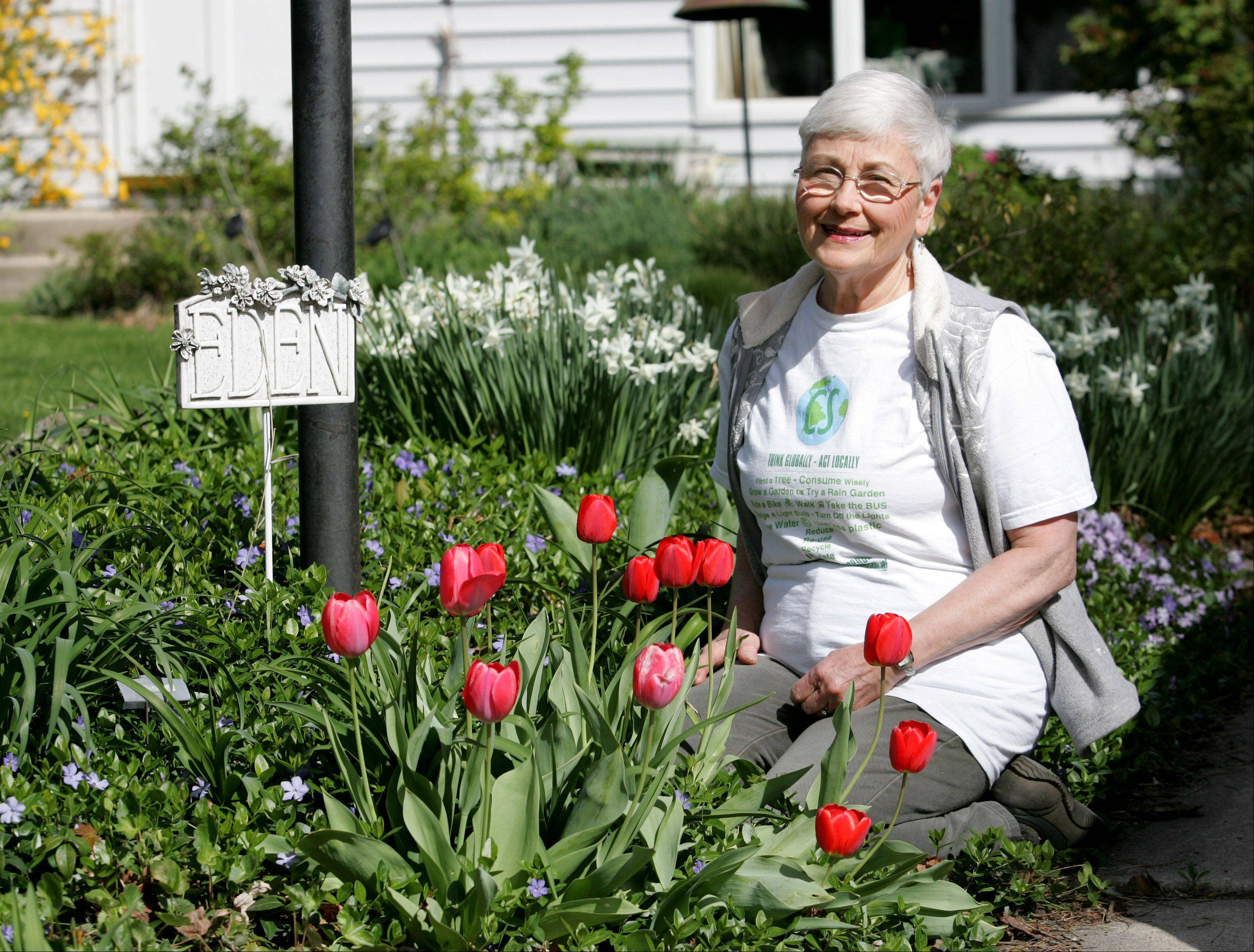 Jan Smith spends a lot of time in her garden outside her Carol Stream home, while also volunteering at a local park that bears her name. She spent 15 years as a part-time gardener for the park district.