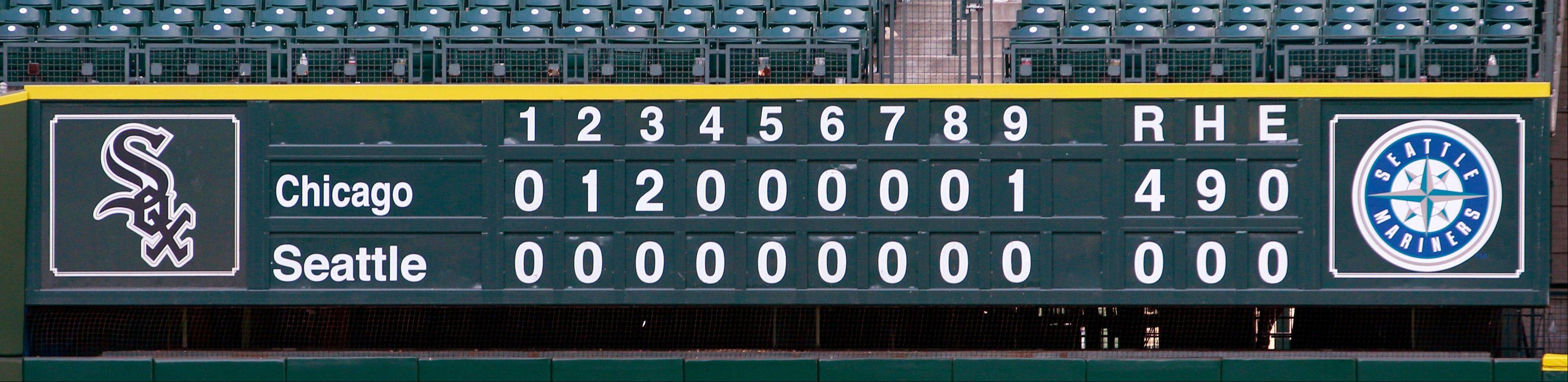 The scoreboard after White Sox starting pitcher Phil Humber threw a perfect game.