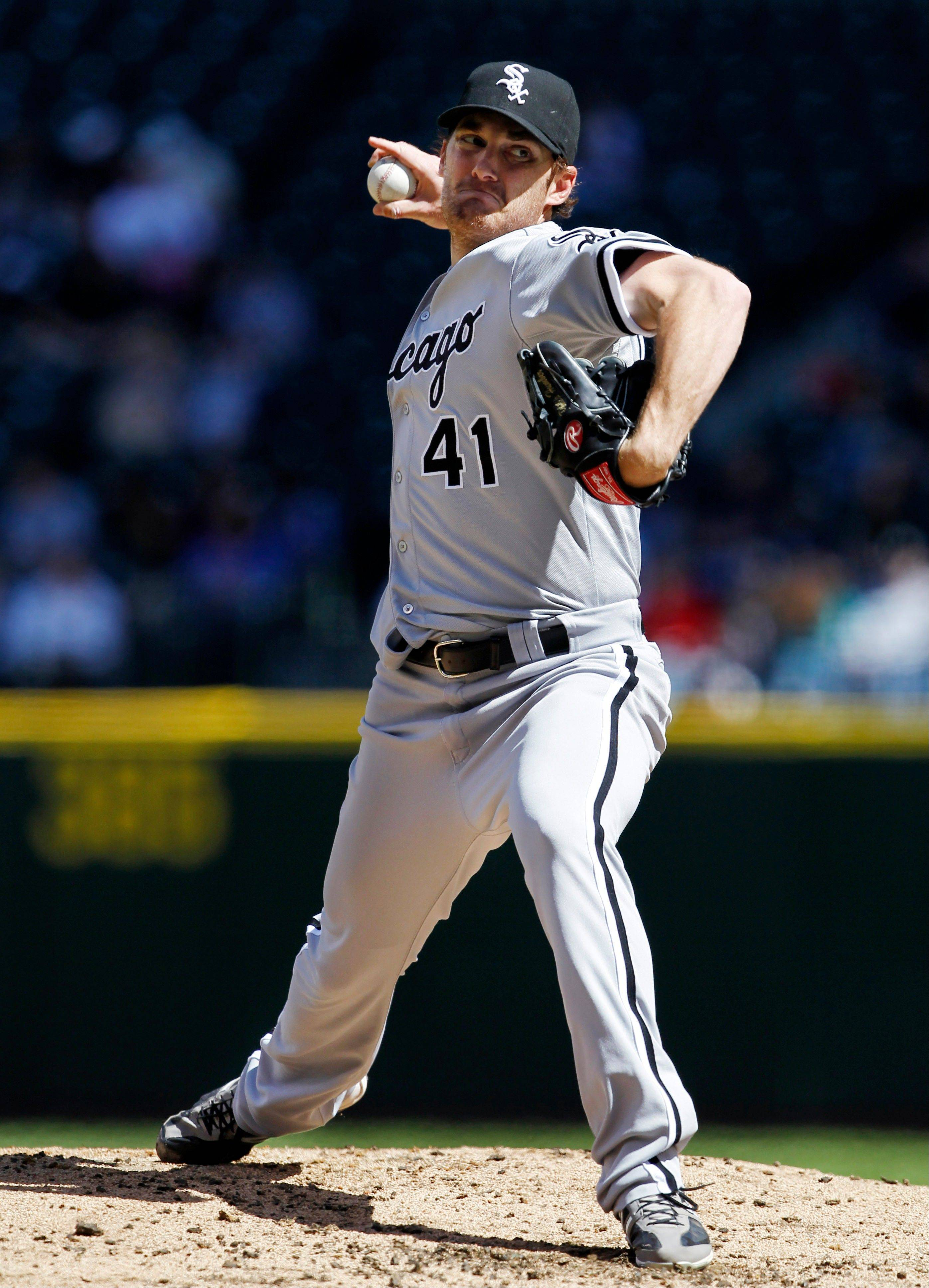 White Sox starting pitcher Phil Humber throws against the Seattle Mariners in the second inning.