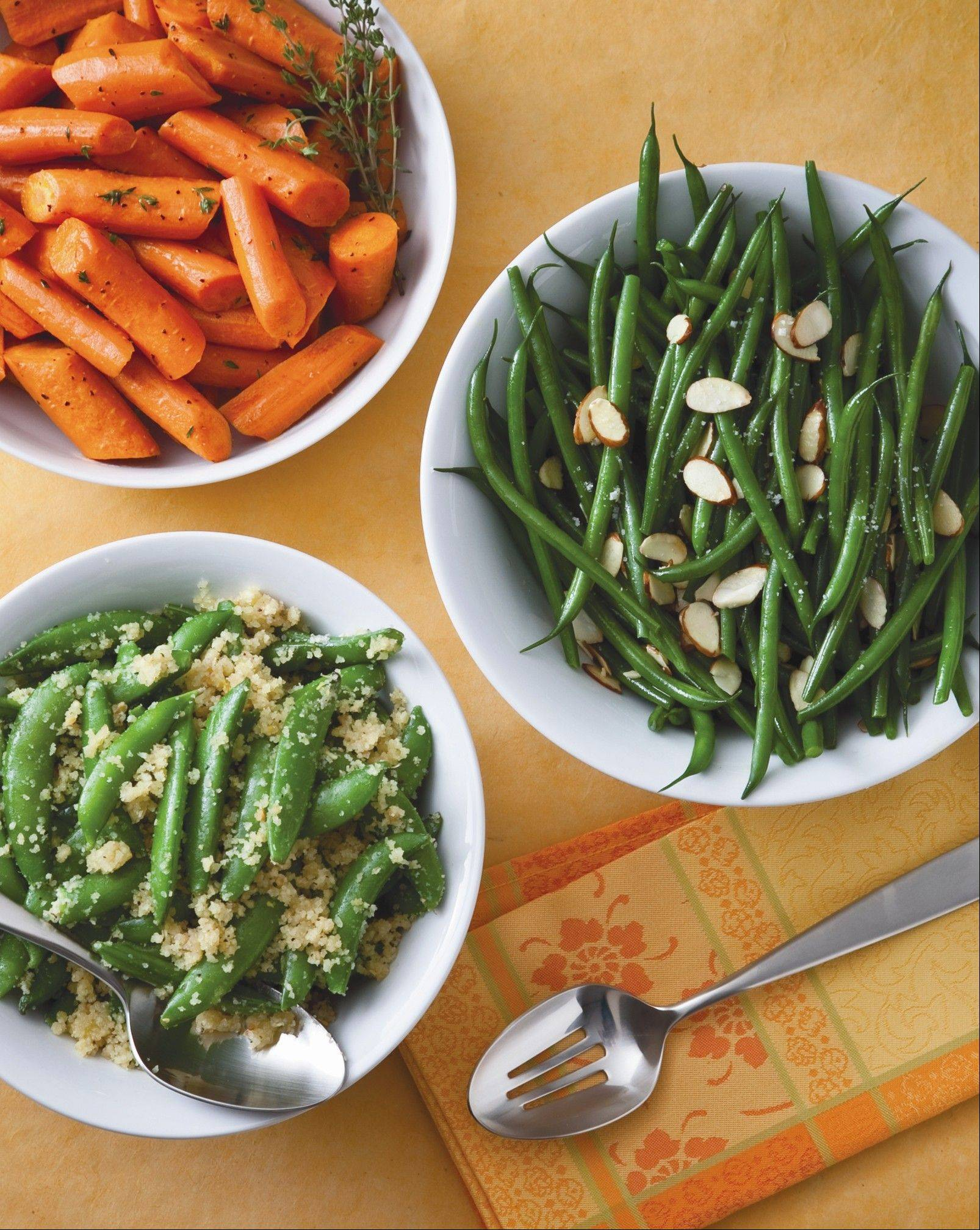 Side dishes of carrots, green beans and sugar snap peas round out quick, simple family meals.