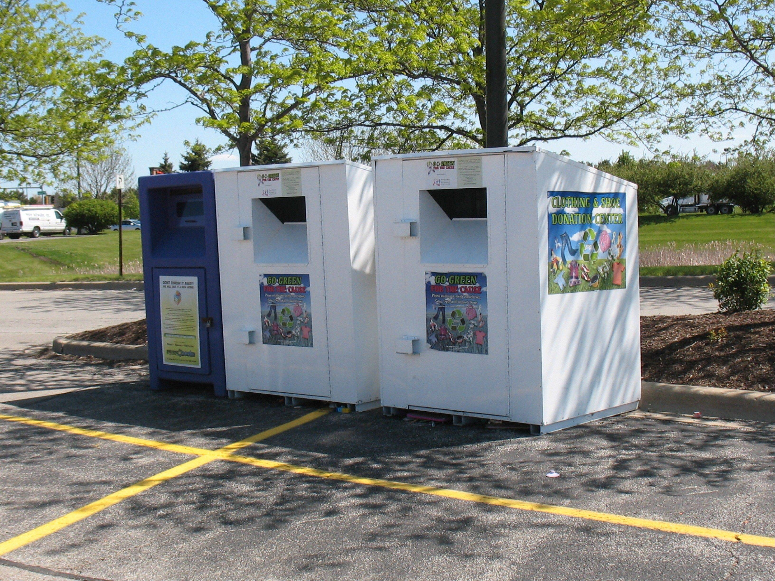 Geneva is considering banning or restricting clothing and book collection boxes such as these, which are in a shopping-center parking lot at Fabyan Parkway and Randall Road.