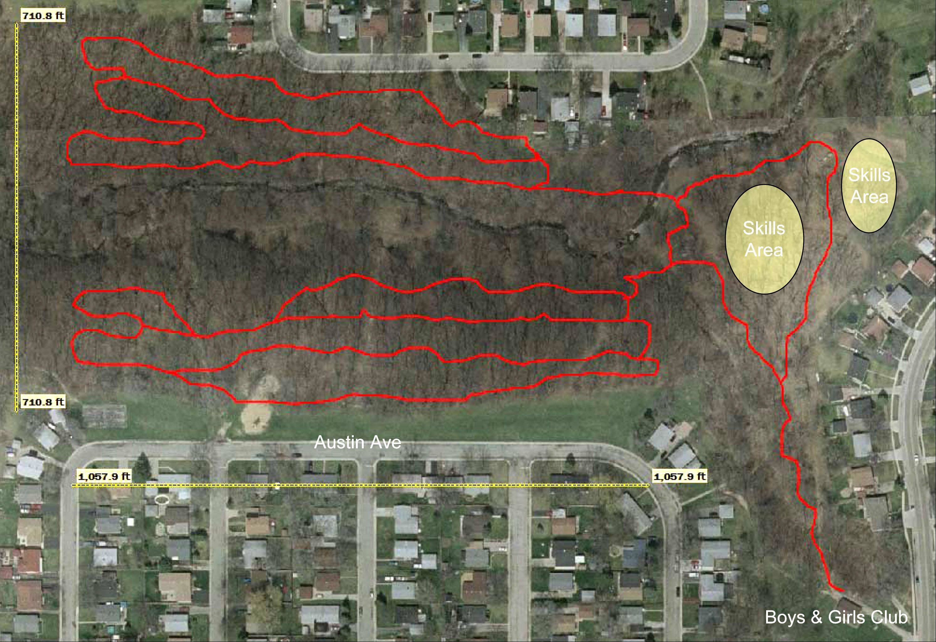 This rendering outlines where the Chicago Area Mountain Bikers Association would build five miles of mountain biking tails in Keith Andres Park in Carpentersville.