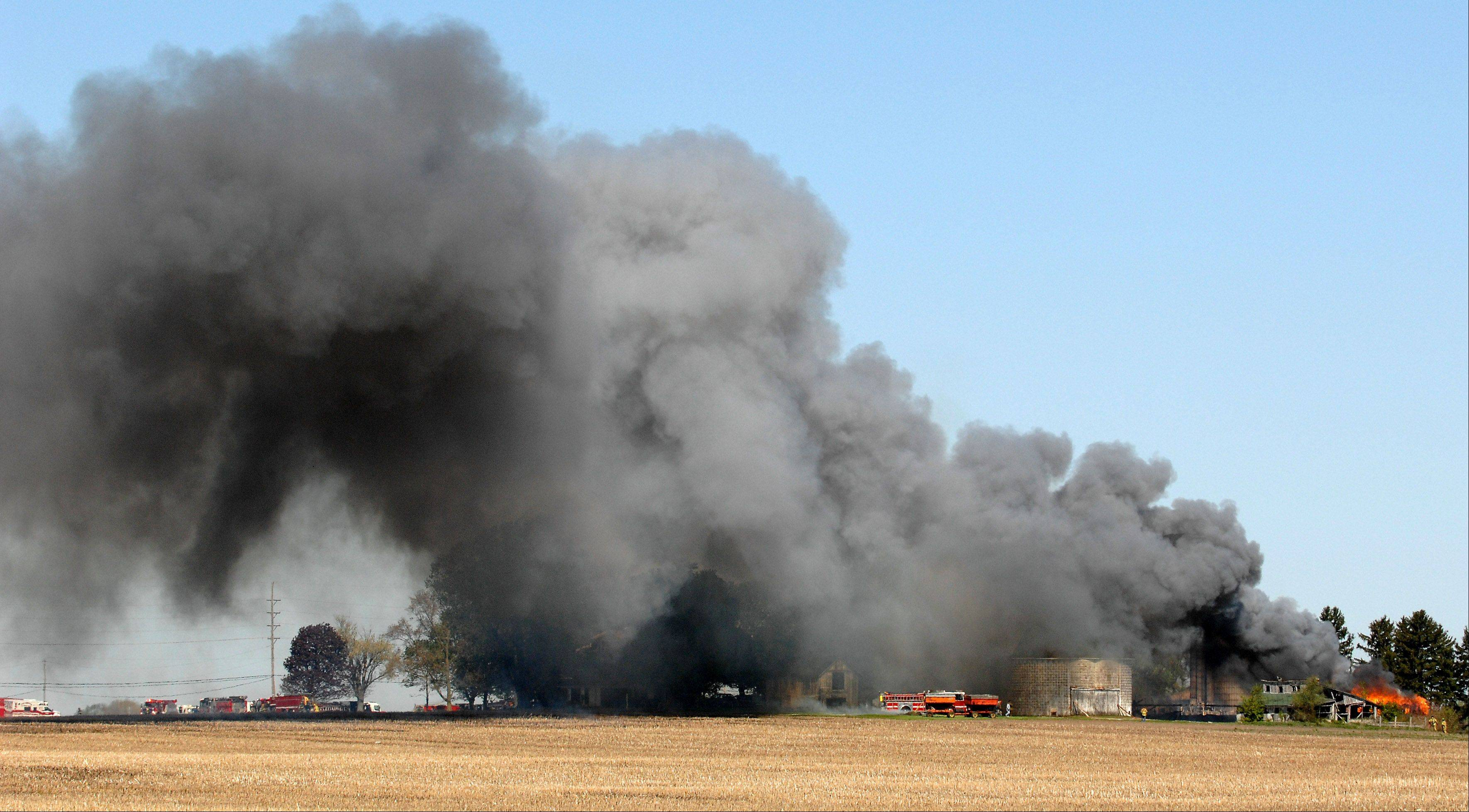 More than a dozen fire departments responded to a barn fire off Route 47 near Lily Lake early Monday.