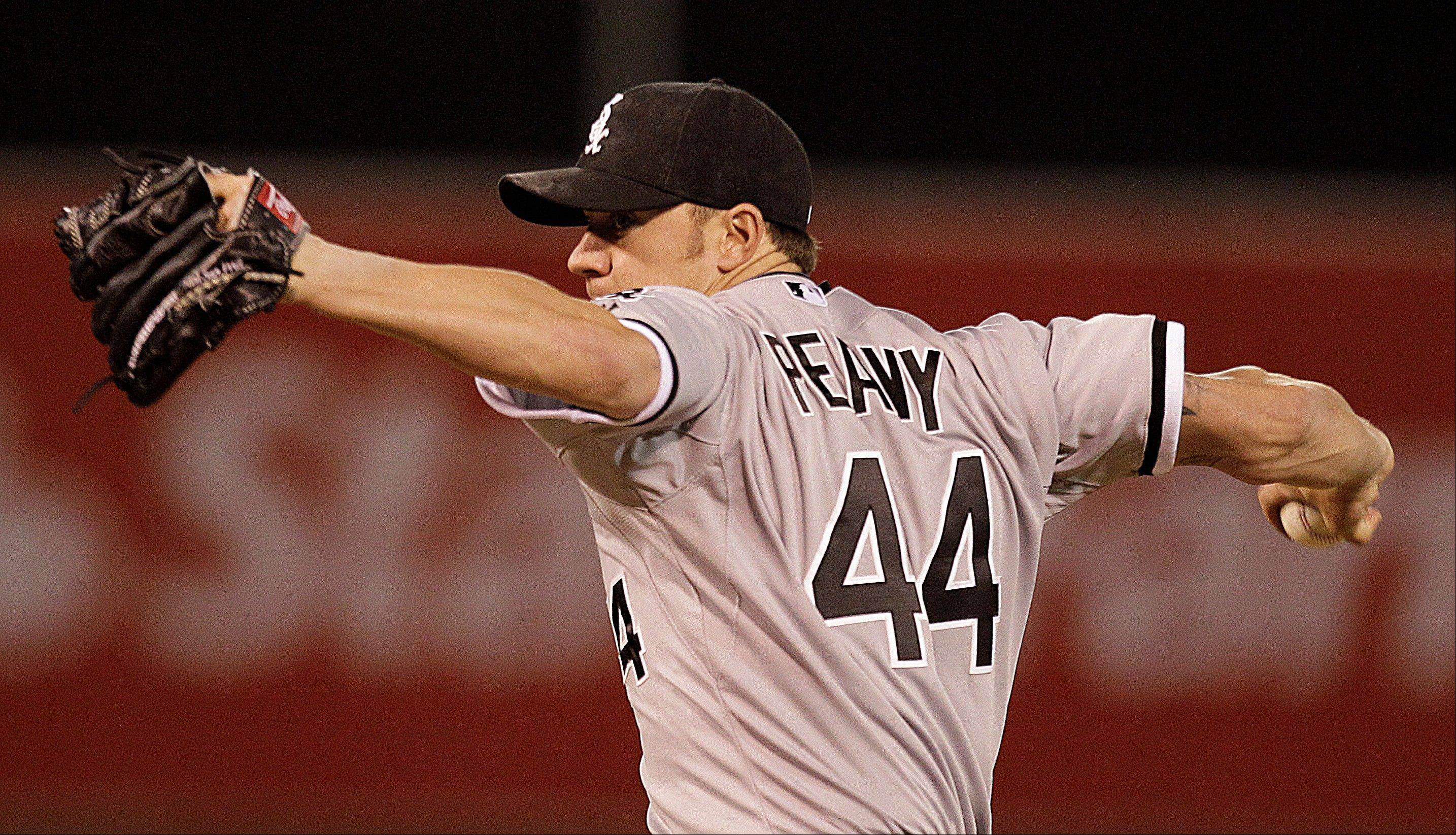 Chicago White Sox pitcher Jake Peavy works against the Oakland Athletics in the ninth inning of a baseball game Monday, April 23 in Oakland, Calif. Peavy pitched a three hit shutout, Chicago won the game, 4-0.
