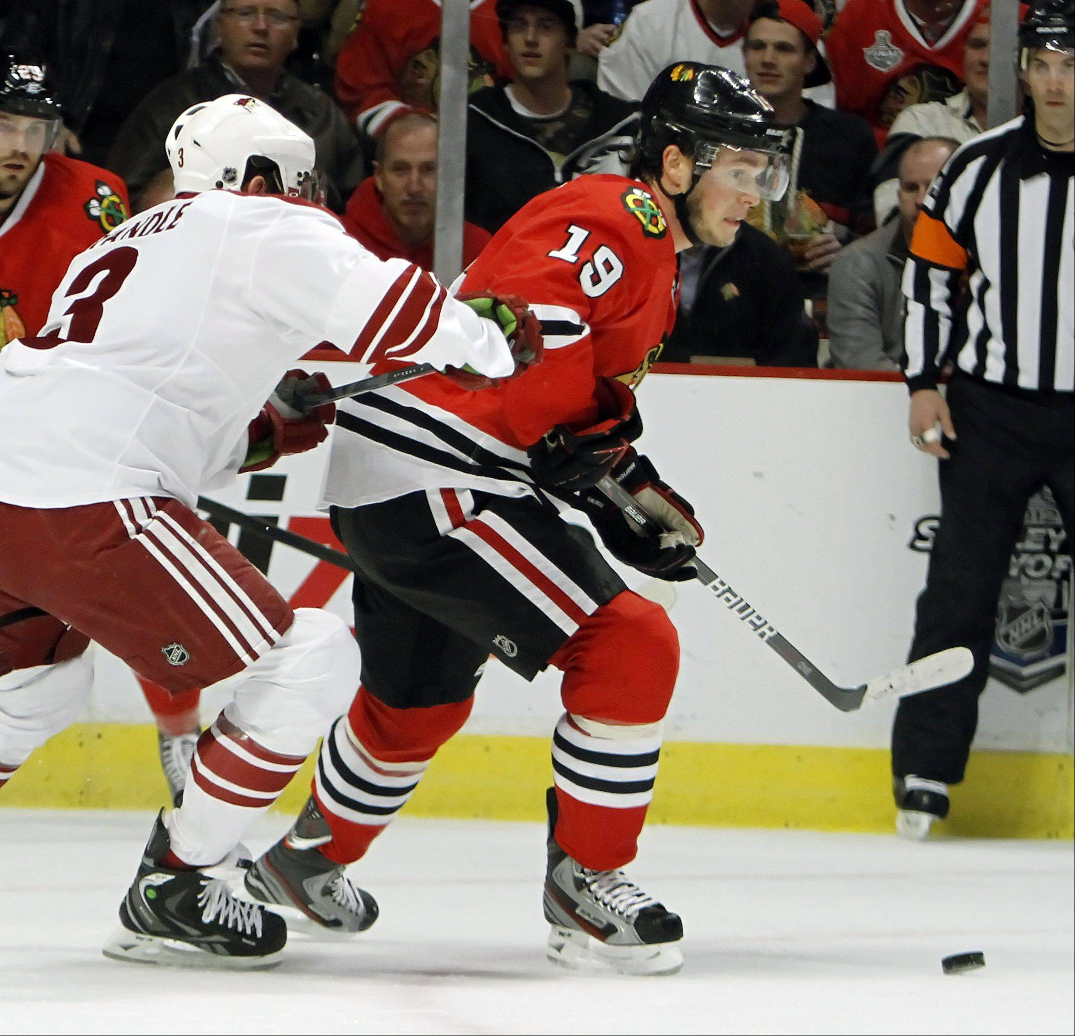 Chicago Blackhawks' center Jonathan Toews looks to shoot.