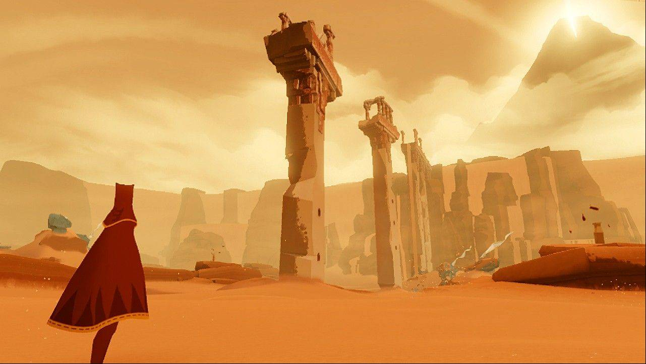 "A nomad explores the ruins of a lost civilization in the puzzler ""Journey."""