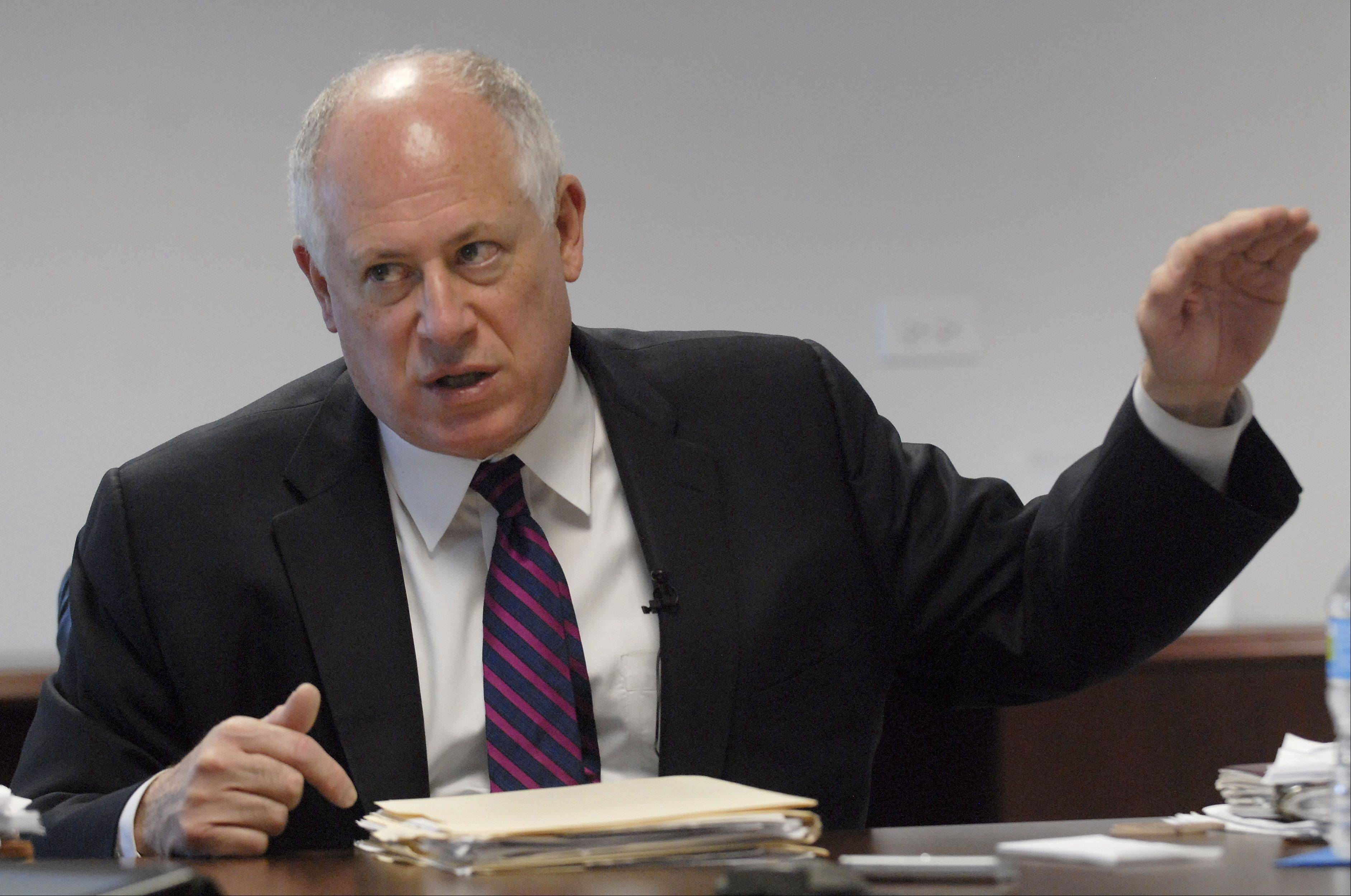 Illinois Gov. Pat Quinn, meeting with the Daily Herald editorial board, said cutting public pension benefits and reducing Medicaid costs are his priorities to get done by the legislature's May 31 scheduled adjournment.