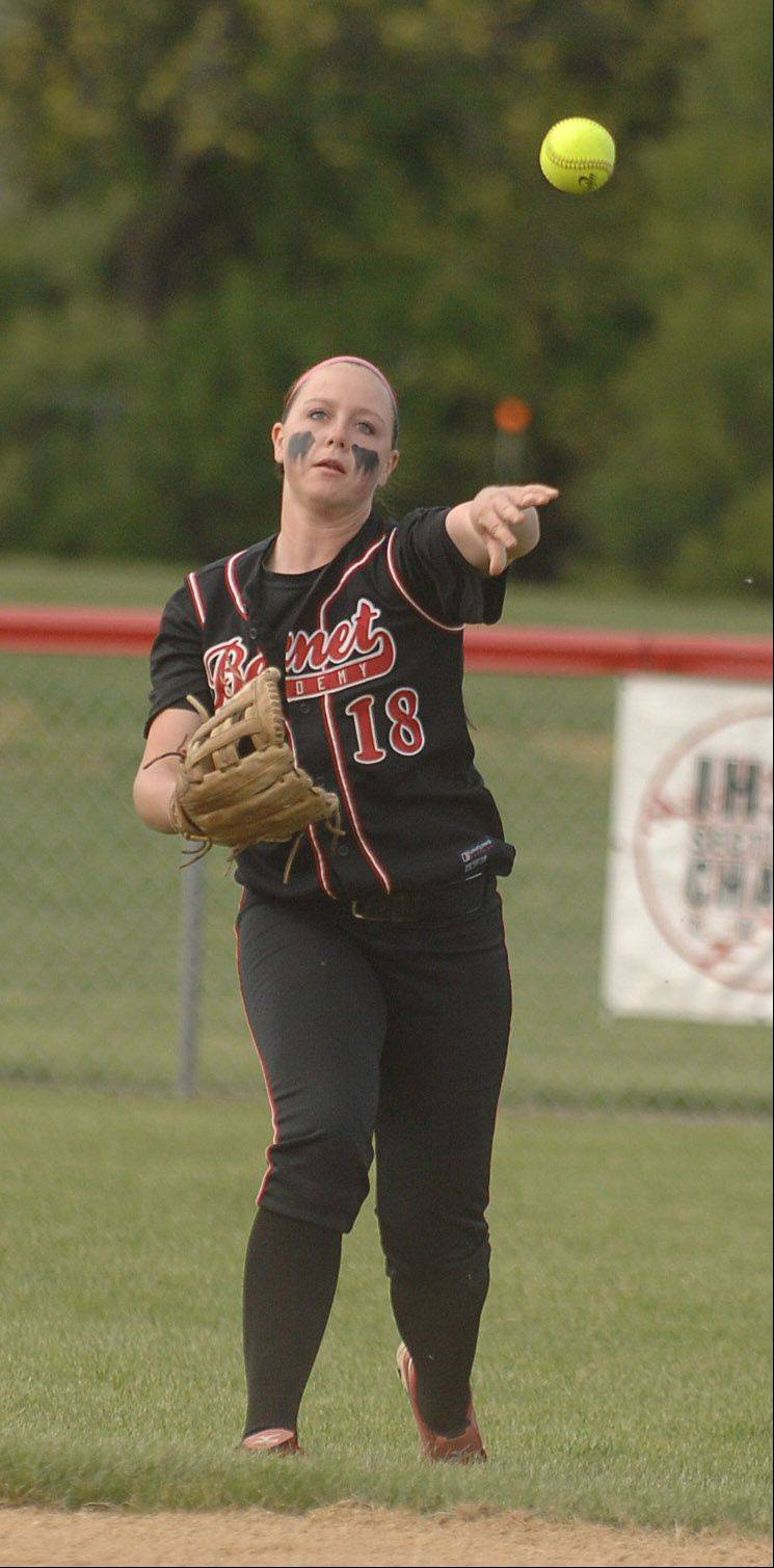 Maeve McGuire of Benet makes the throw to first during the Downers Grove North at Benet softball game Tuesday.