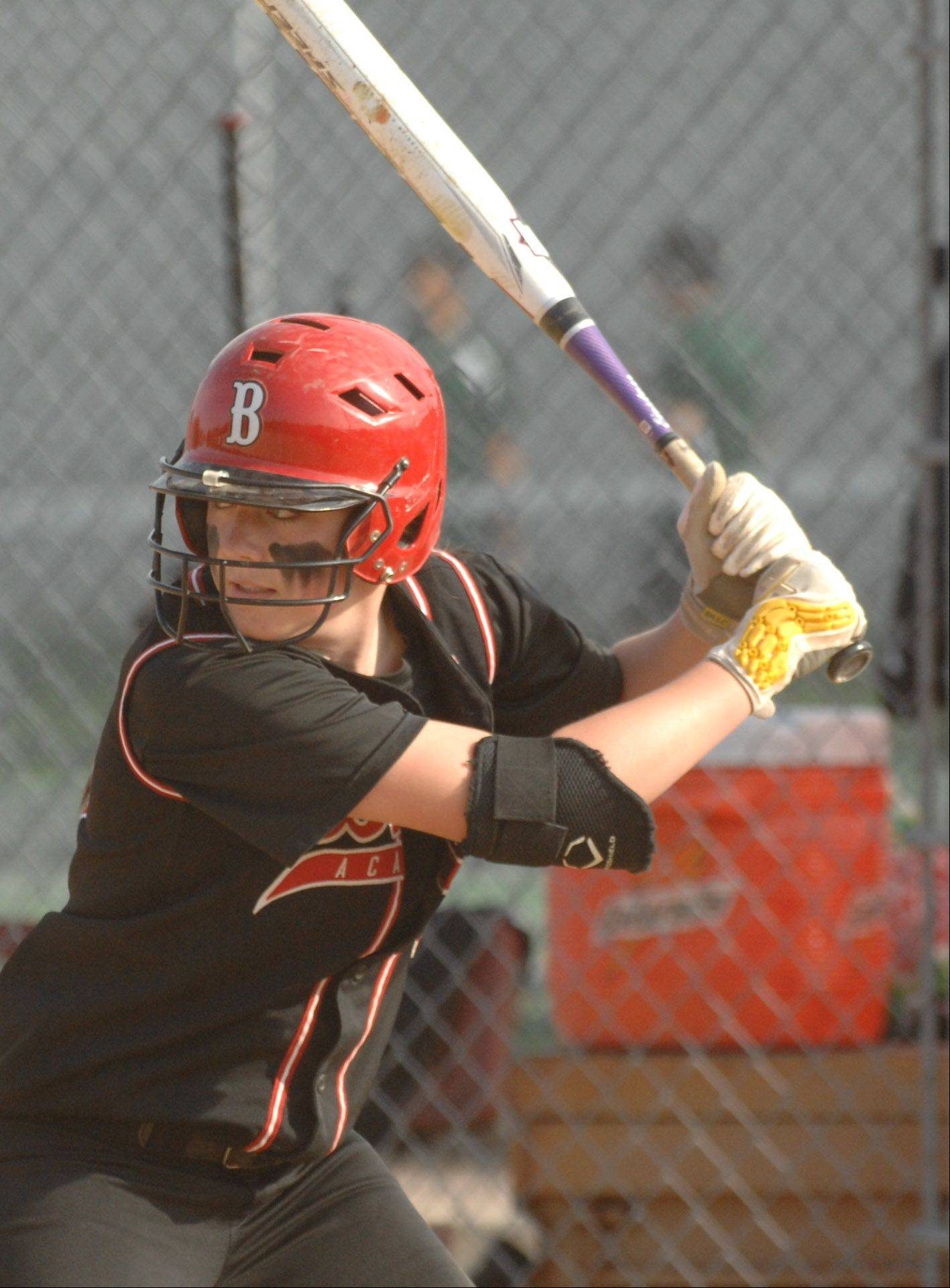 Maeve McGuire of Benet is at bat during the Downers Grove North at Benet softball game Tuesday.
