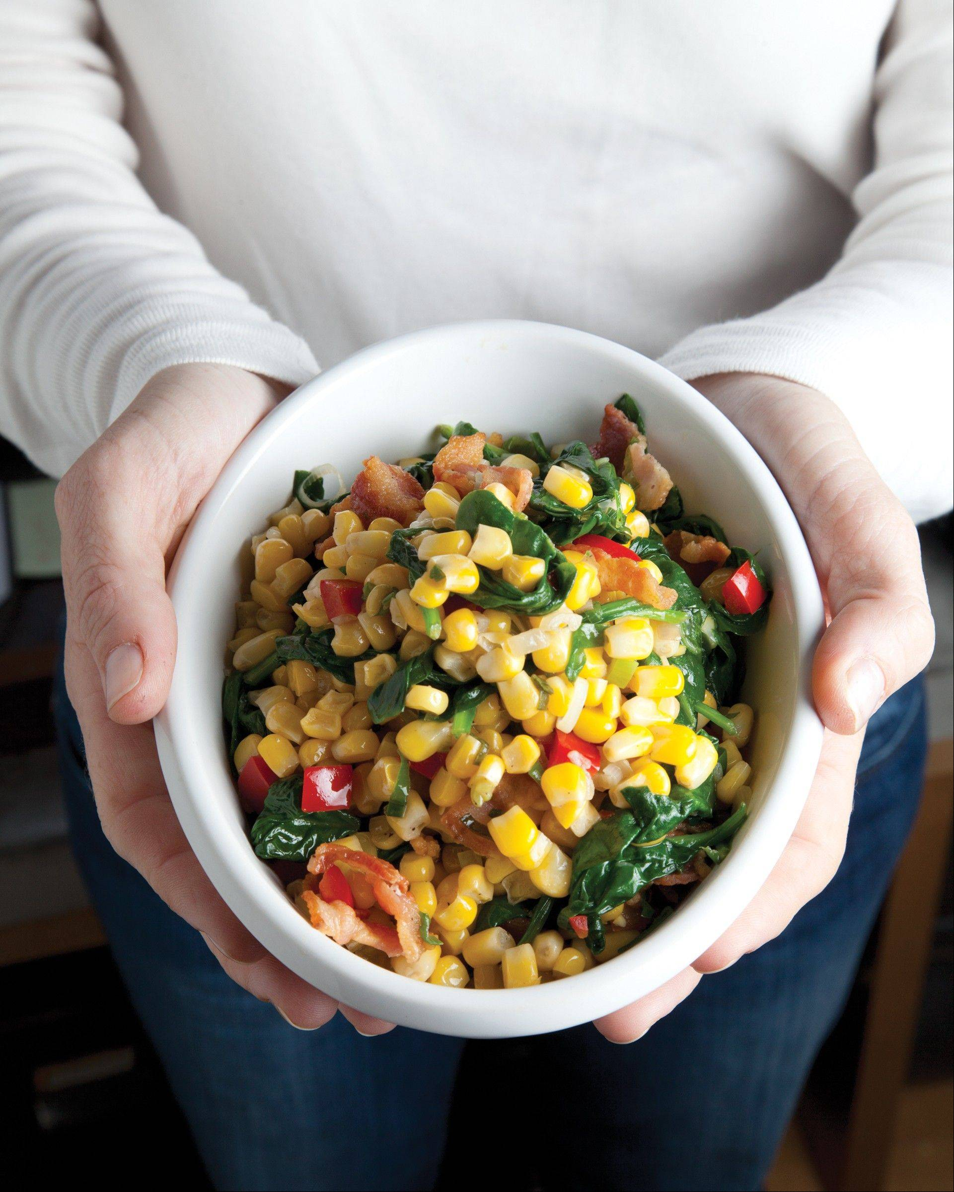 Sauteed Corn, Spinach, Bacon and Scallions